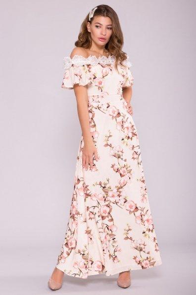 Платье Монриа 7056 Цвет: Цветы на ветке пудра светлая