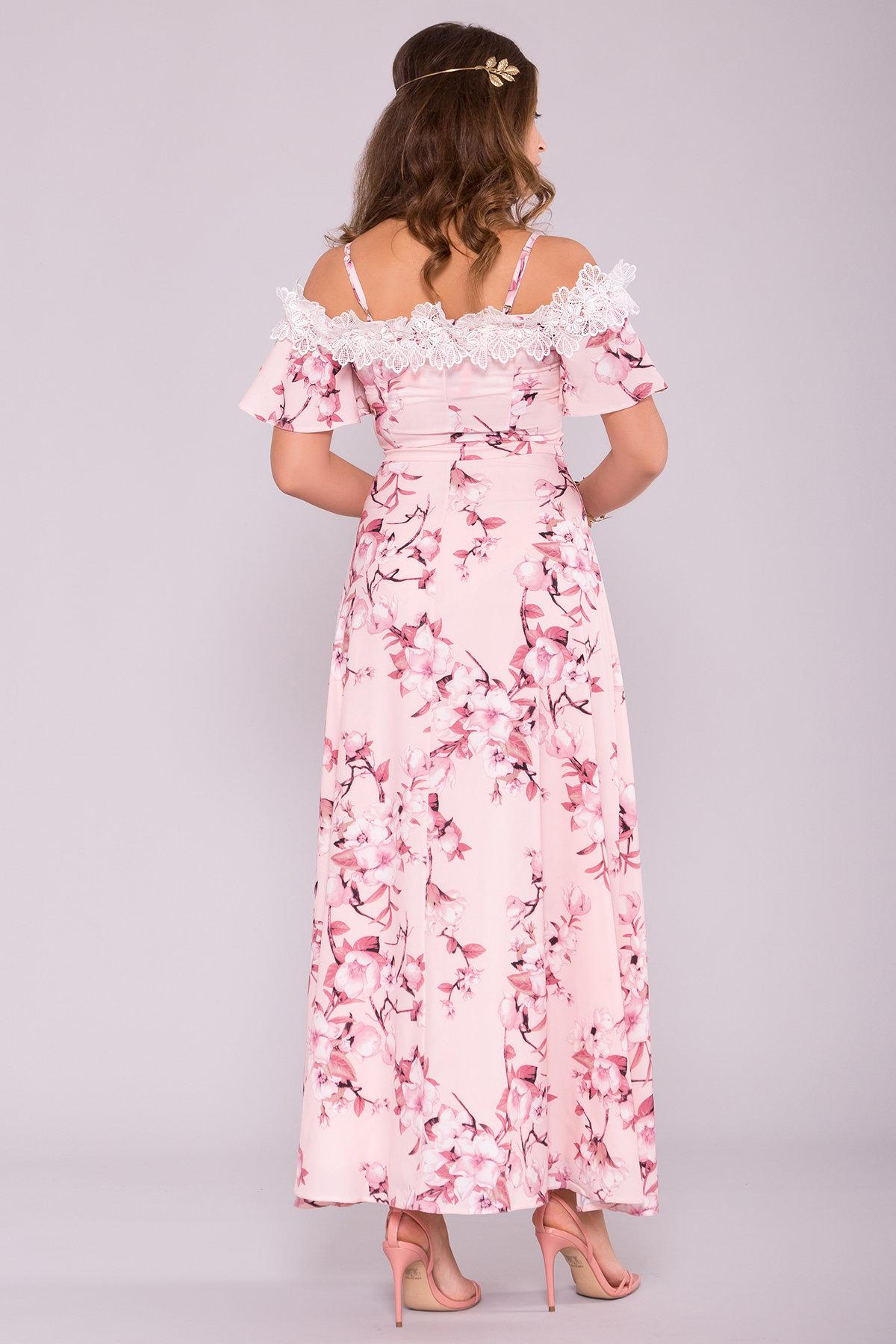 Платье Монриа 7056 АРТ. 42351 Цвет: Цветы на ветке пудра темная - фото 2, интернет магазин tm-modus.ru