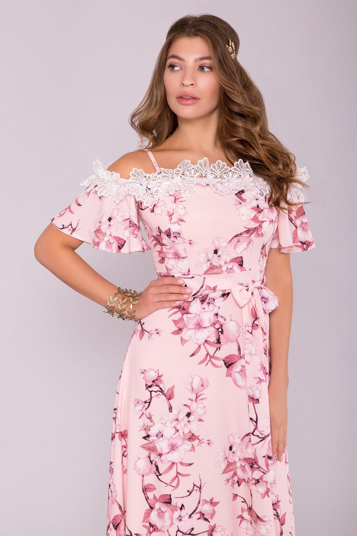 Платье Монриа 7056 АРТ. 42351 Цвет: Цветы на ветке пудра темная - фото 3, интернет магазин tm-modus.ru