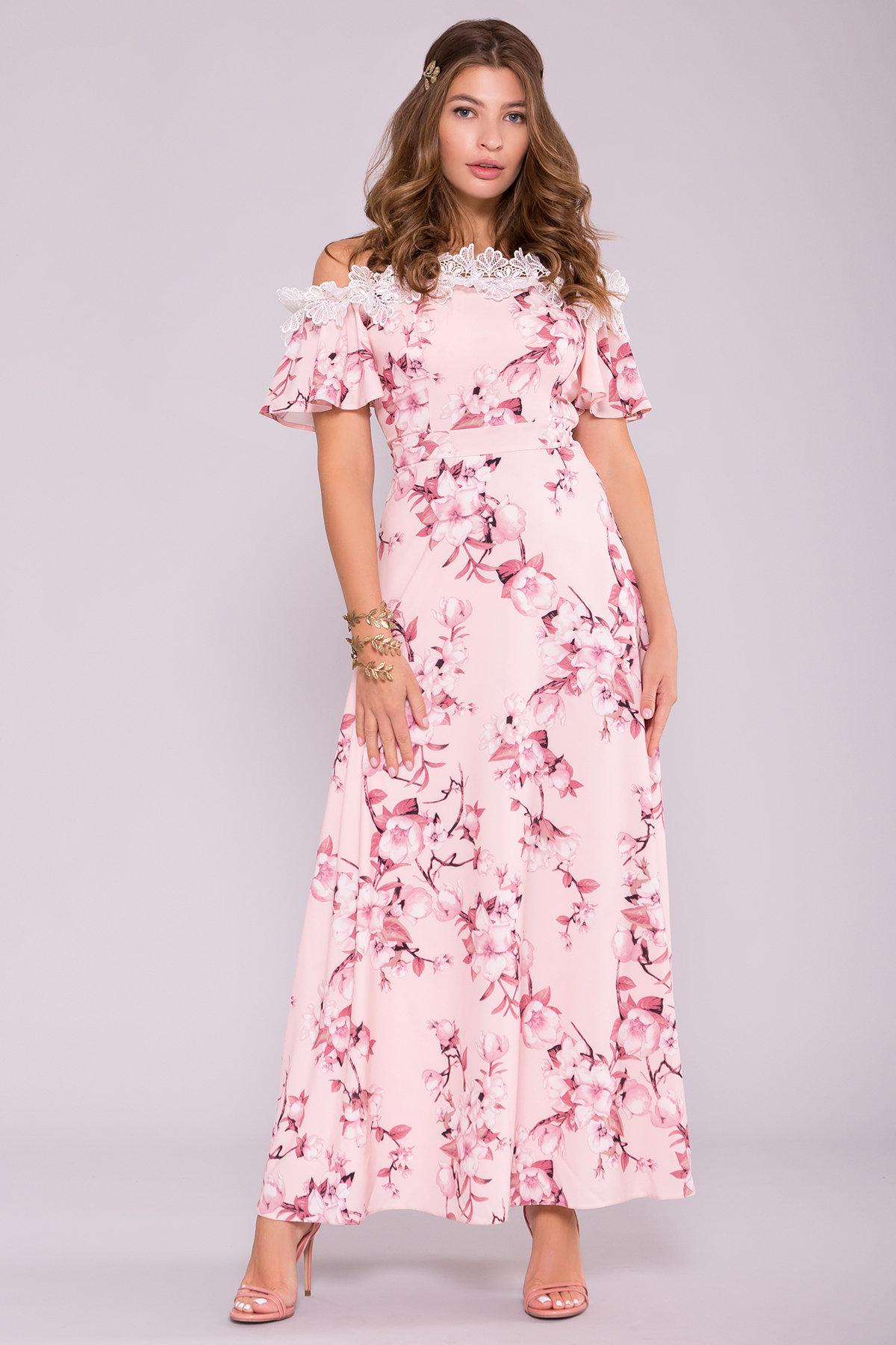 Платье Монриа 7056 АРТ. 42351 Цвет: Цветы на ветке пудра темная - фото 4, интернет магазин tm-modus.ru