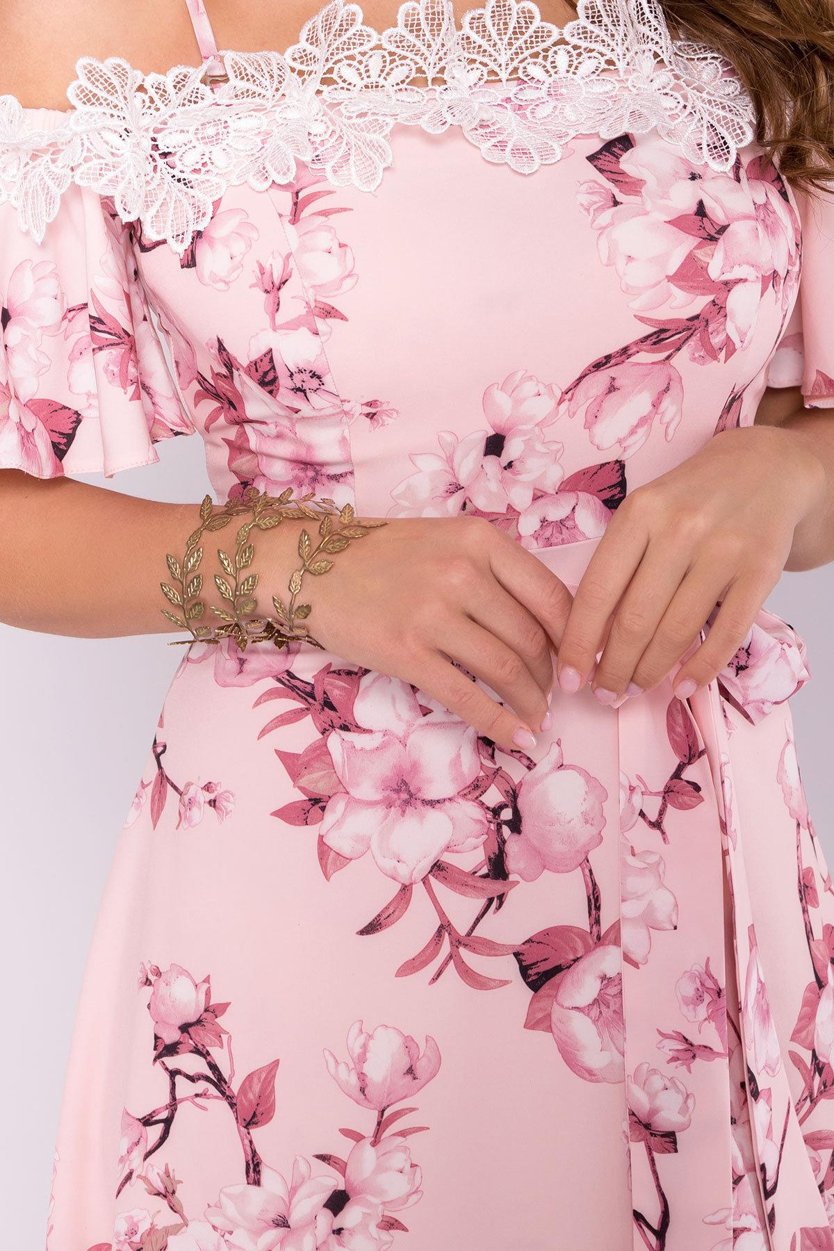Платье Монриа 7056 АРТ. 42351 Цвет: Цветы на ветке пудра темная - фото 5, интернет магазин tm-modus.ru