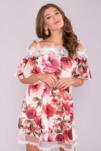 Модное Платье с цветами Линда 6936 Цвет: Розы молоко/коралл
