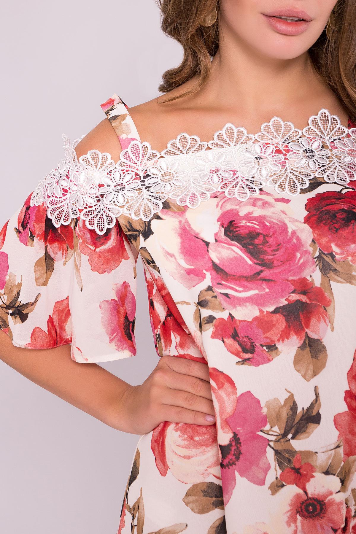 Платье Линда 6936 АРТ. 42295 Цвет: Розы молоко/коралл - фото 4, интернет магазин tm-modus.ru