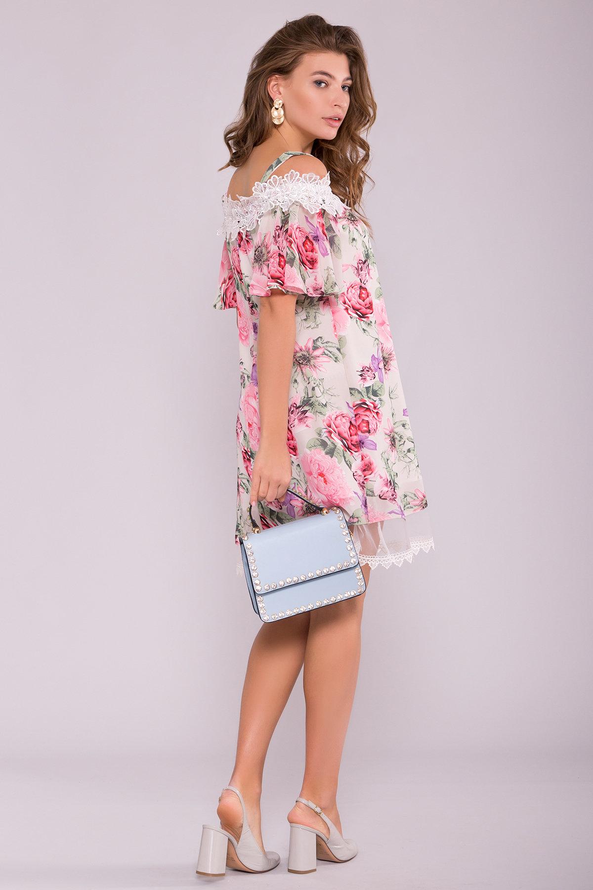 Платье Линда 6936 АРТ. 42297 Цвет: Цветы комби беж - фото 2, интернет магазин tm-modus.ru