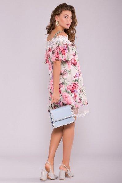 Платье Линда 6936 Цвет: Цветы комби беж