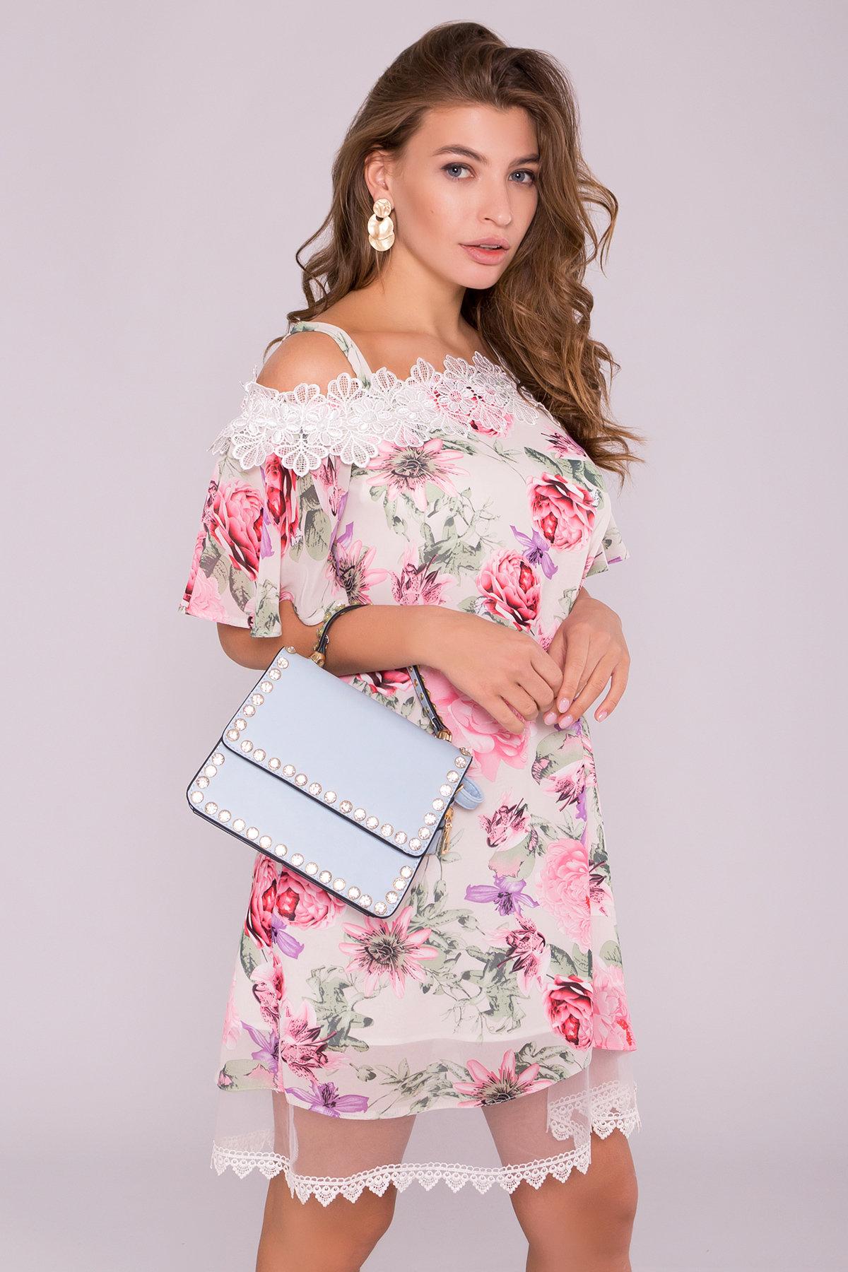 Платье Линда 6936 АРТ. 42297 Цвет: Цветы комби беж - фото 3, интернет магазин tm-modus.ru