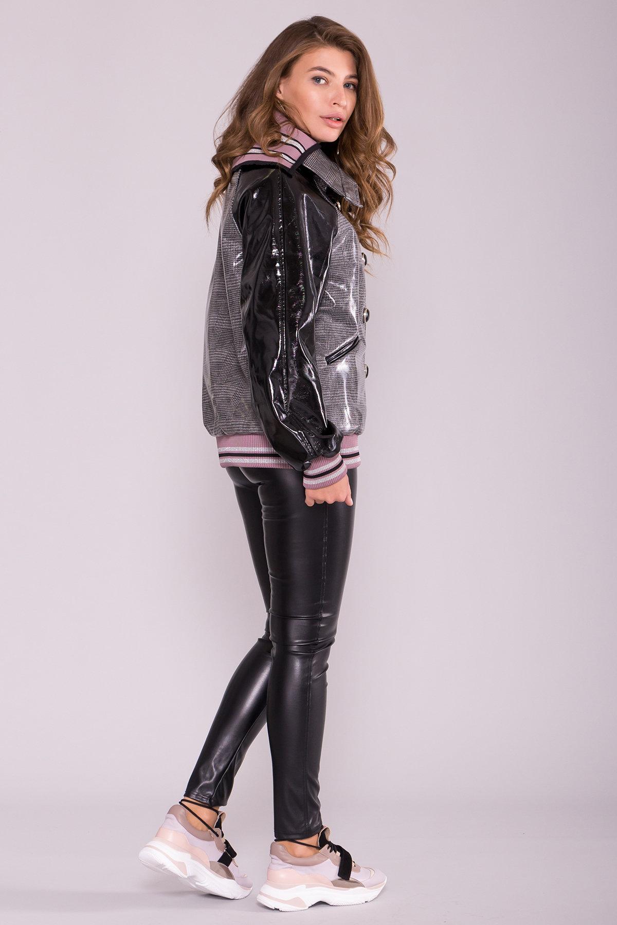 Куртка с двойным отложным воротником 6852 АРТ. 42513 Цвет: Черный/сирень - фото 2, интернет магазин tm-modus.ru