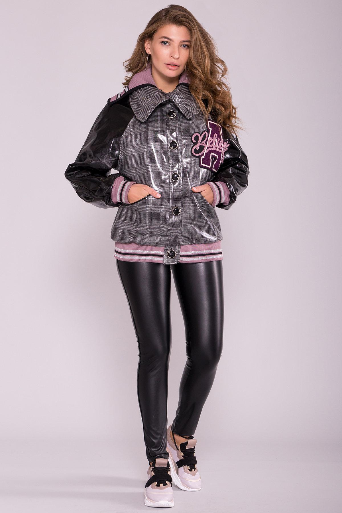 Куртка с двойным отложным воротником 6852 АРТ. 42513 Цвет: Черный/сирень - фото 3, интернет магазин tm-modus.ru
