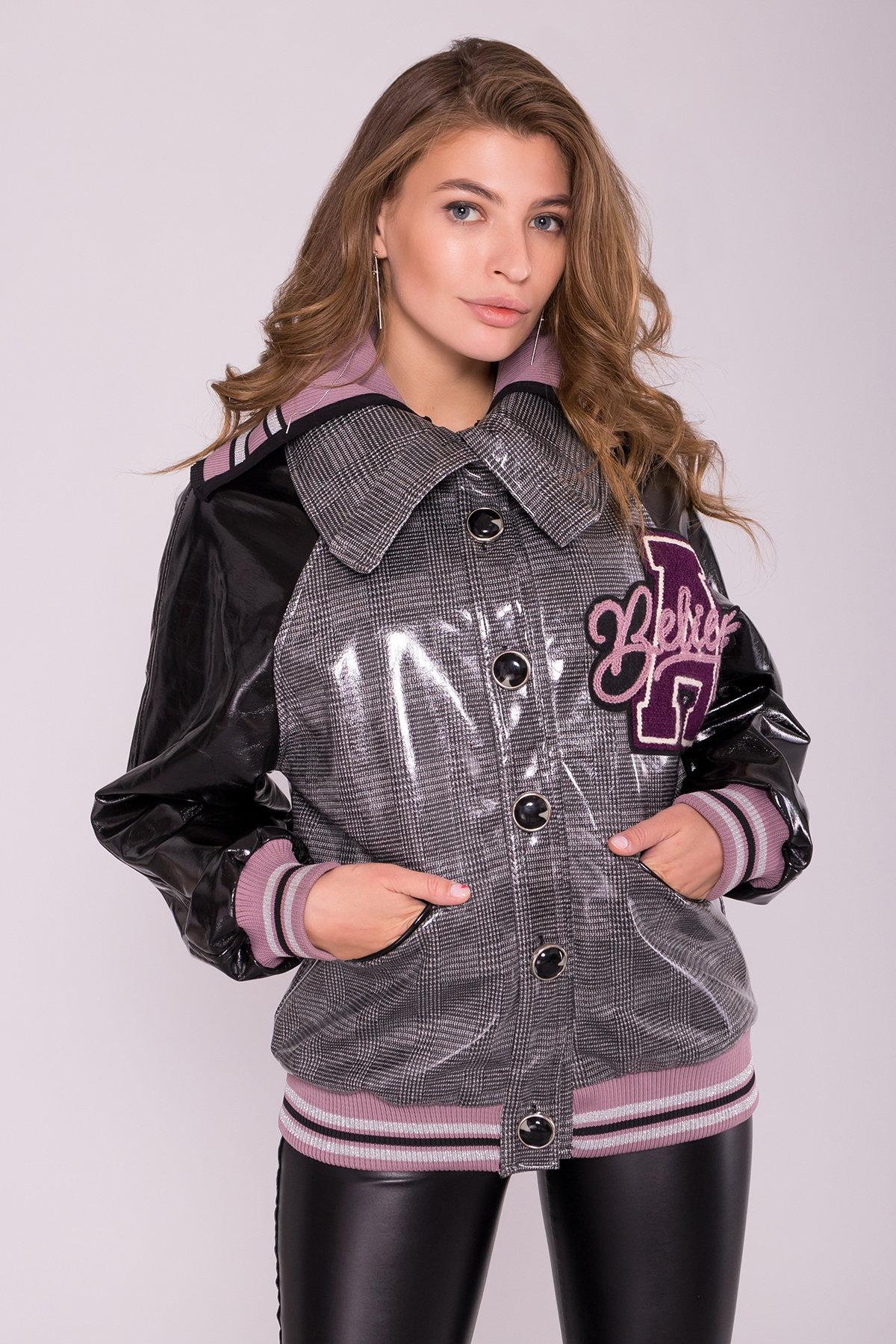 Куртка с двойным отложным воротником 6852 АРТ. 42513 Цвет: Черный/сирень - фото 4, интернет магазин tm-modus.ru