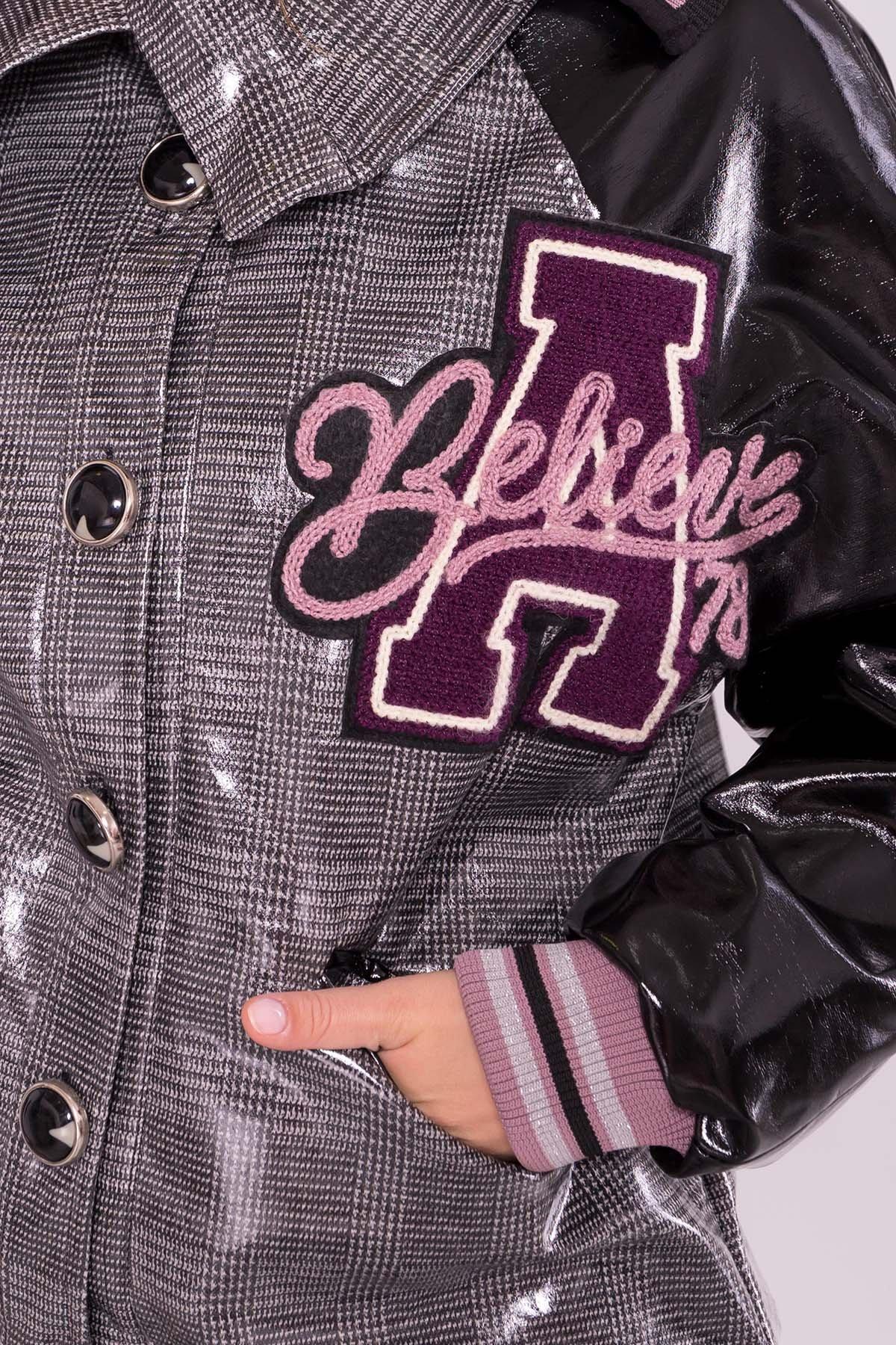 Куртка с двойным отложным воротником 6852 АРТ. 42513 Цвет: Черный/сирень - фото 5, интернет магазин tm-modus.ru
