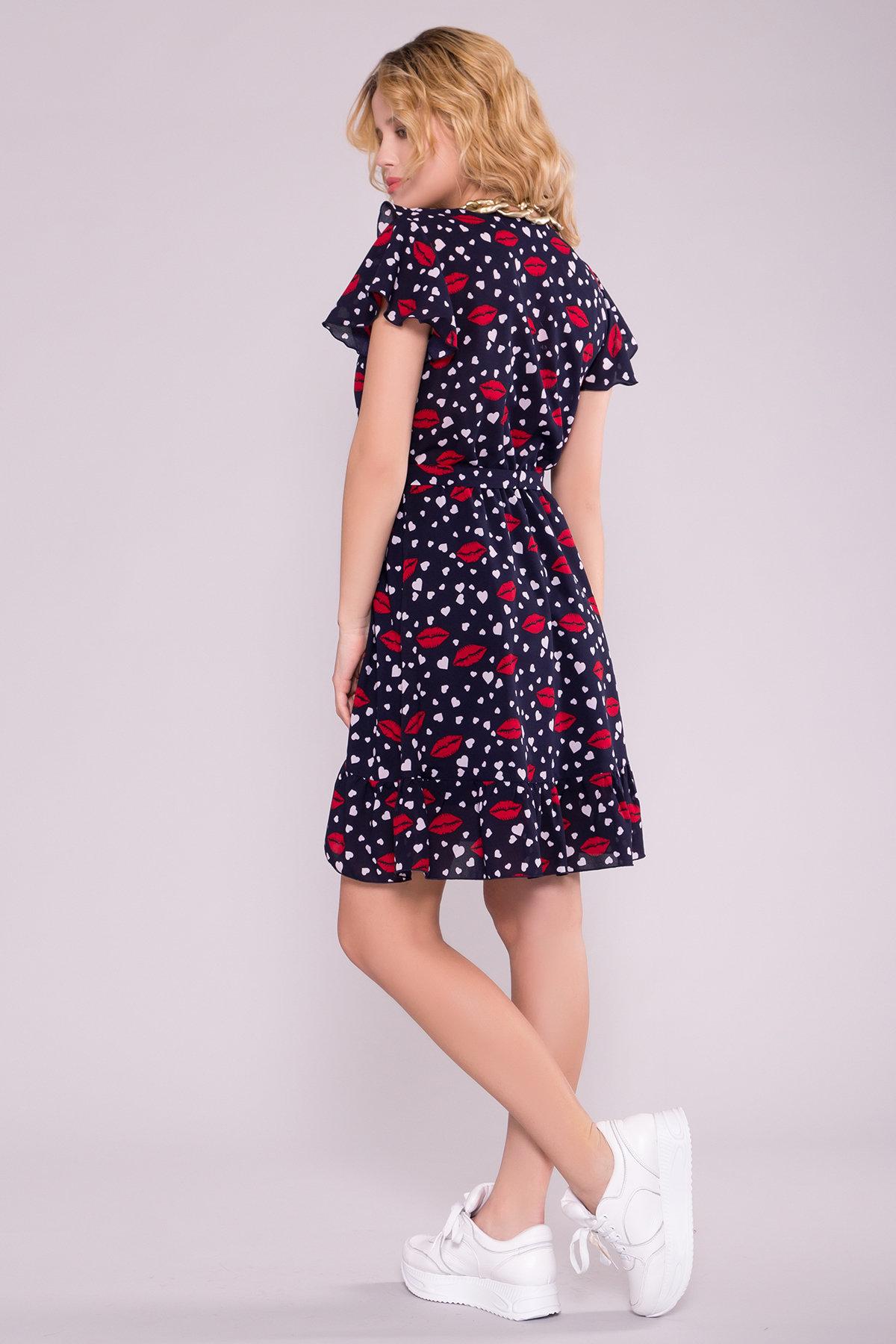 Платье Лигра 7096 АРТ. 42419 Цвет: Т.син Сердце/бел/крас губы - фото 2, интернет магазин tm-modus.ru
