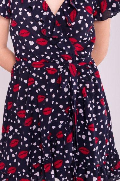 Платье Лигра 7096 Цвет: Т.син Сердце/бел/крас губы
