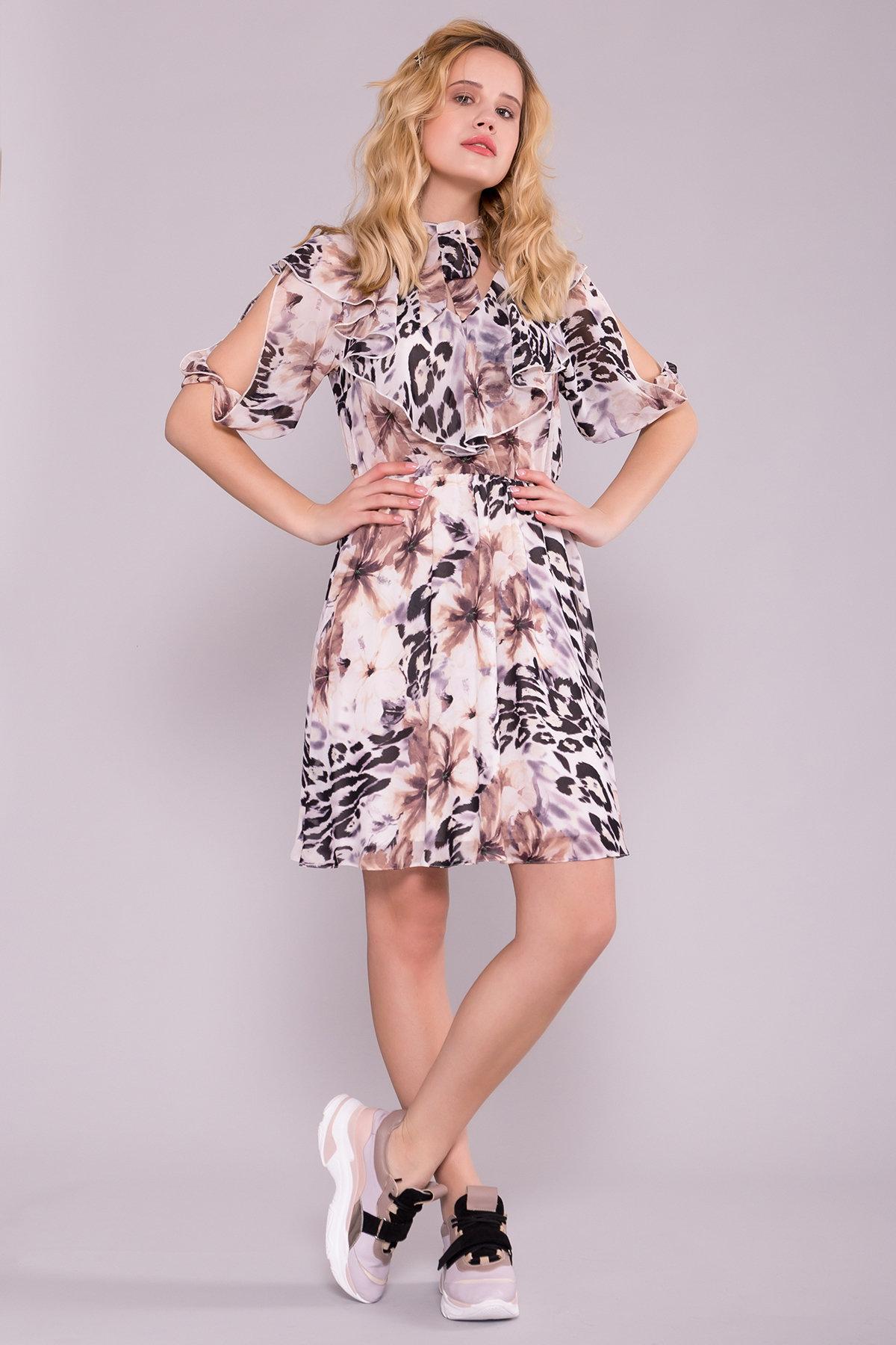 Платье Блюз 7093 Цвет: Леоп цвет мол/беж