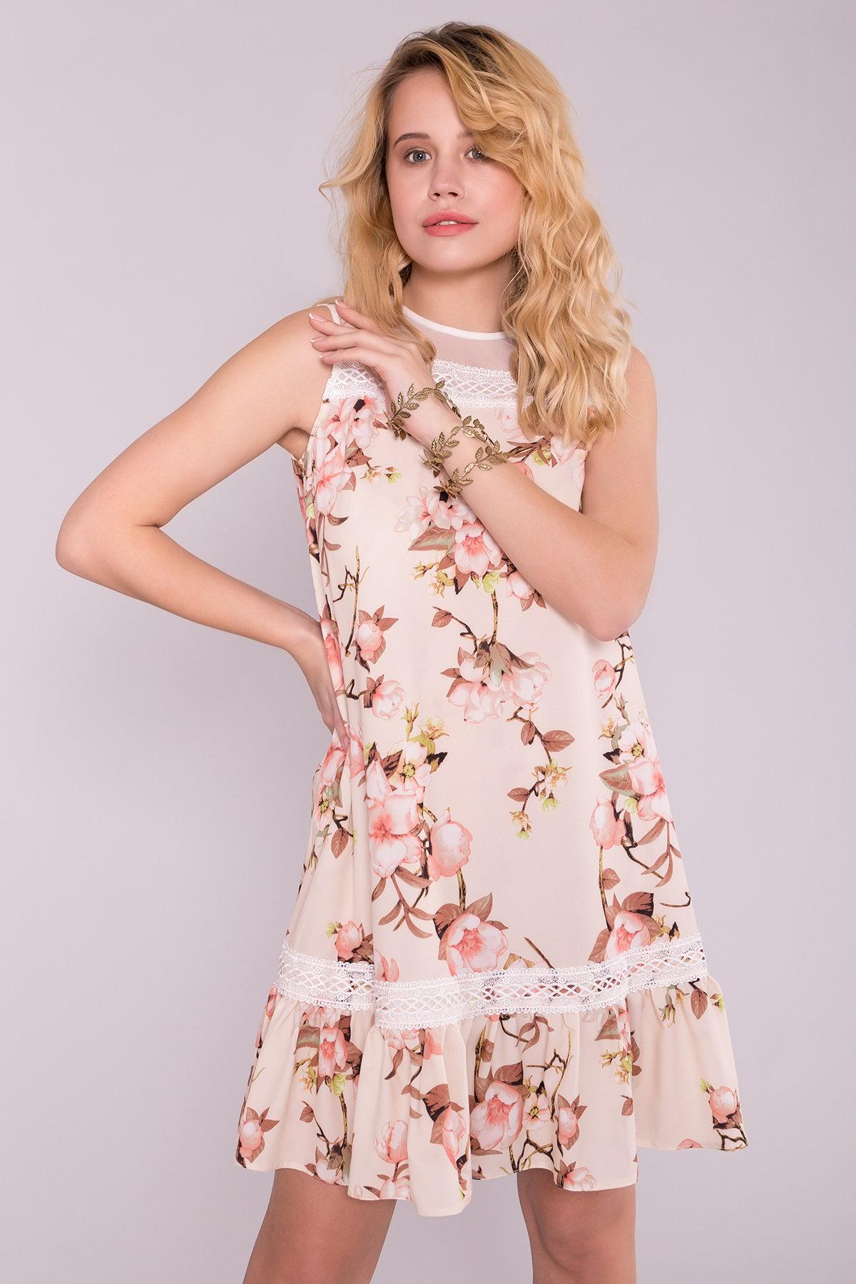 Платье Инга 7063 АРТ. 42360 Цвет: Цветы на ветке пудра светлая - фото 2, интернет магазин tm-modus.ru