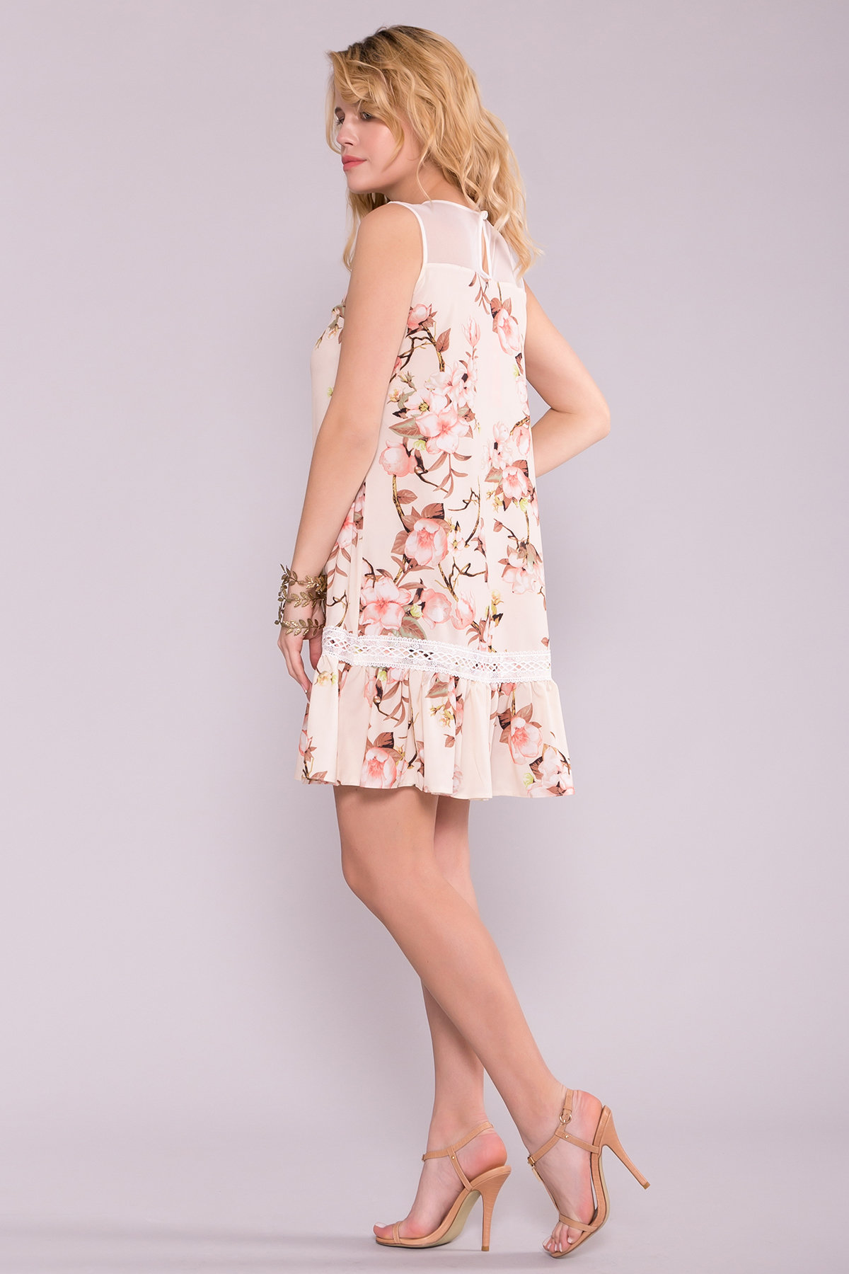 Платье Инга 7063 АРТ. 42360 Цвет: Цветы на ветке пудра светлая - фото 3, интернет магазин tm-modus.ru