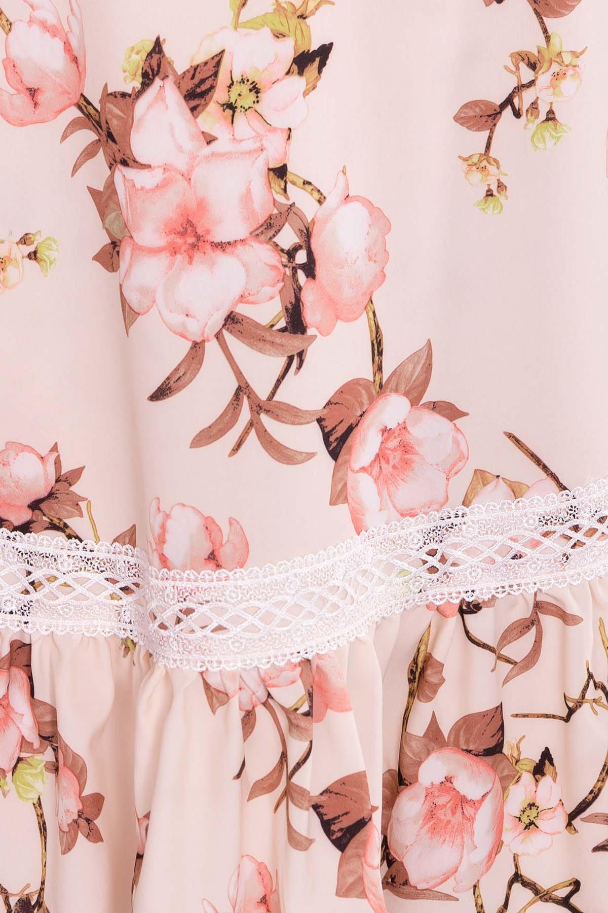Платье Инга 7063 Цвет: Цветы на ветке пудра светлая