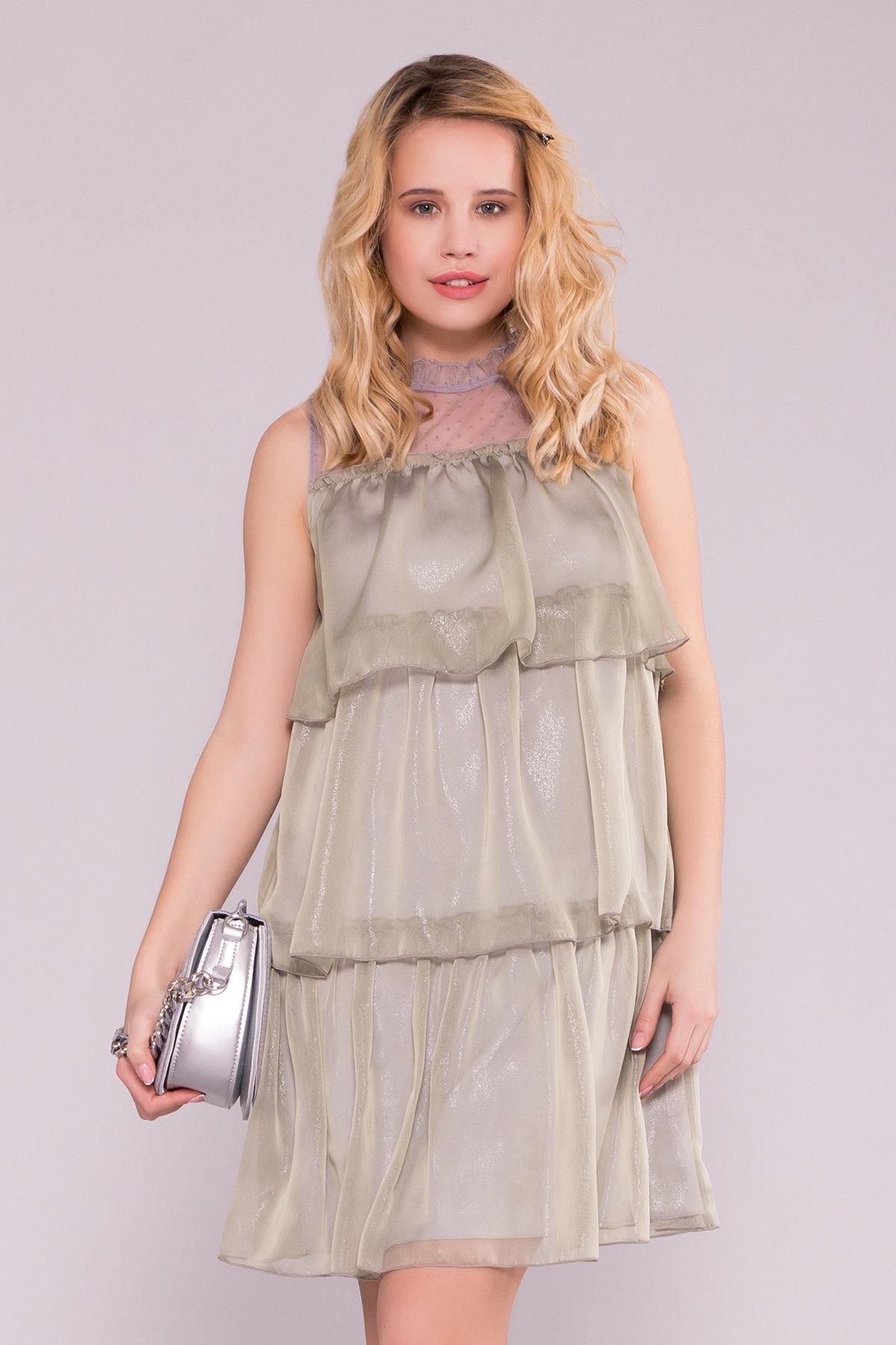 Перри платье из органзы 7067 АРТ. 42545 Цвет: Хаки - фото 2, интернет магазин tm-modus.ru