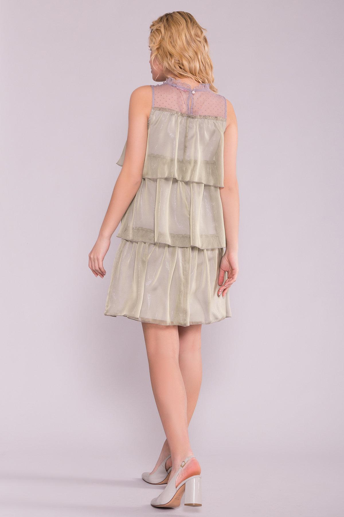 Перри платье из органзы 7067 АРТ. 42545 Цвет: Хаки - фото 3, интернет магазин tm-modus.ru