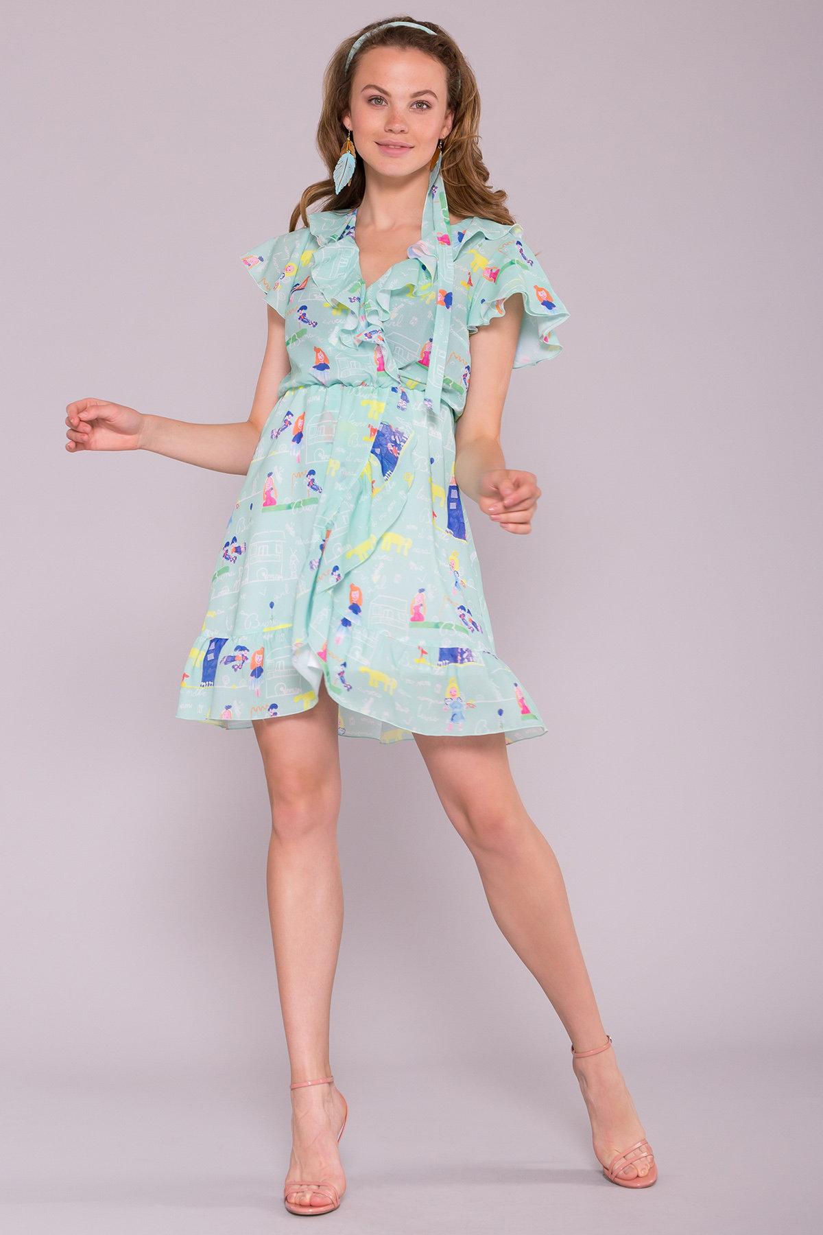 Платье Лигра 7096 АРТ. 42523 Цвет: Мята Детские рисунки 14/2 - фото 3, интернет магазин tm-modus.ru