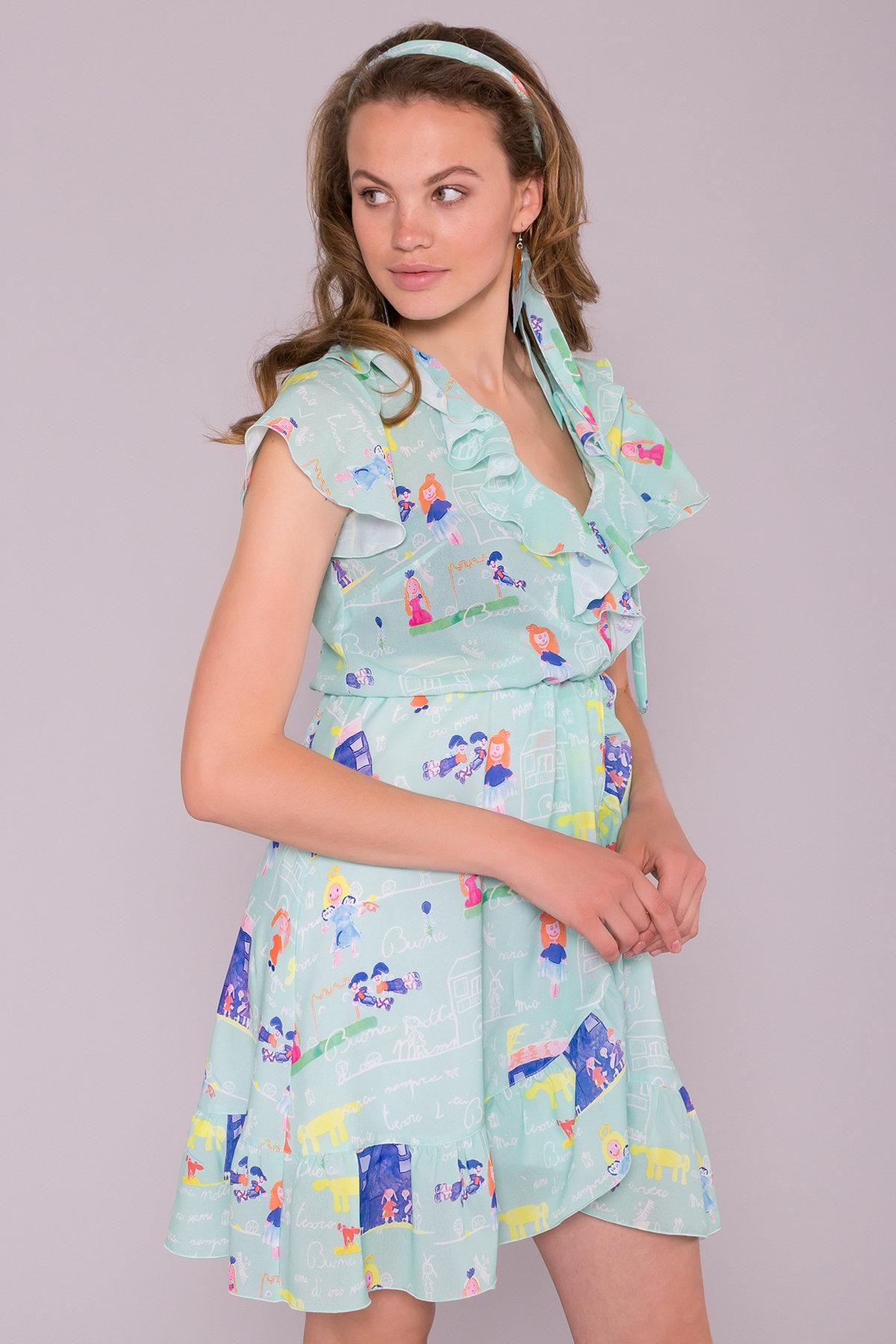 Платье Лигра 7096 АРТ. 42523 Цвет: Мята Детские рисунки 14/2 - фото 4, интернет магазин tm-modus.ru