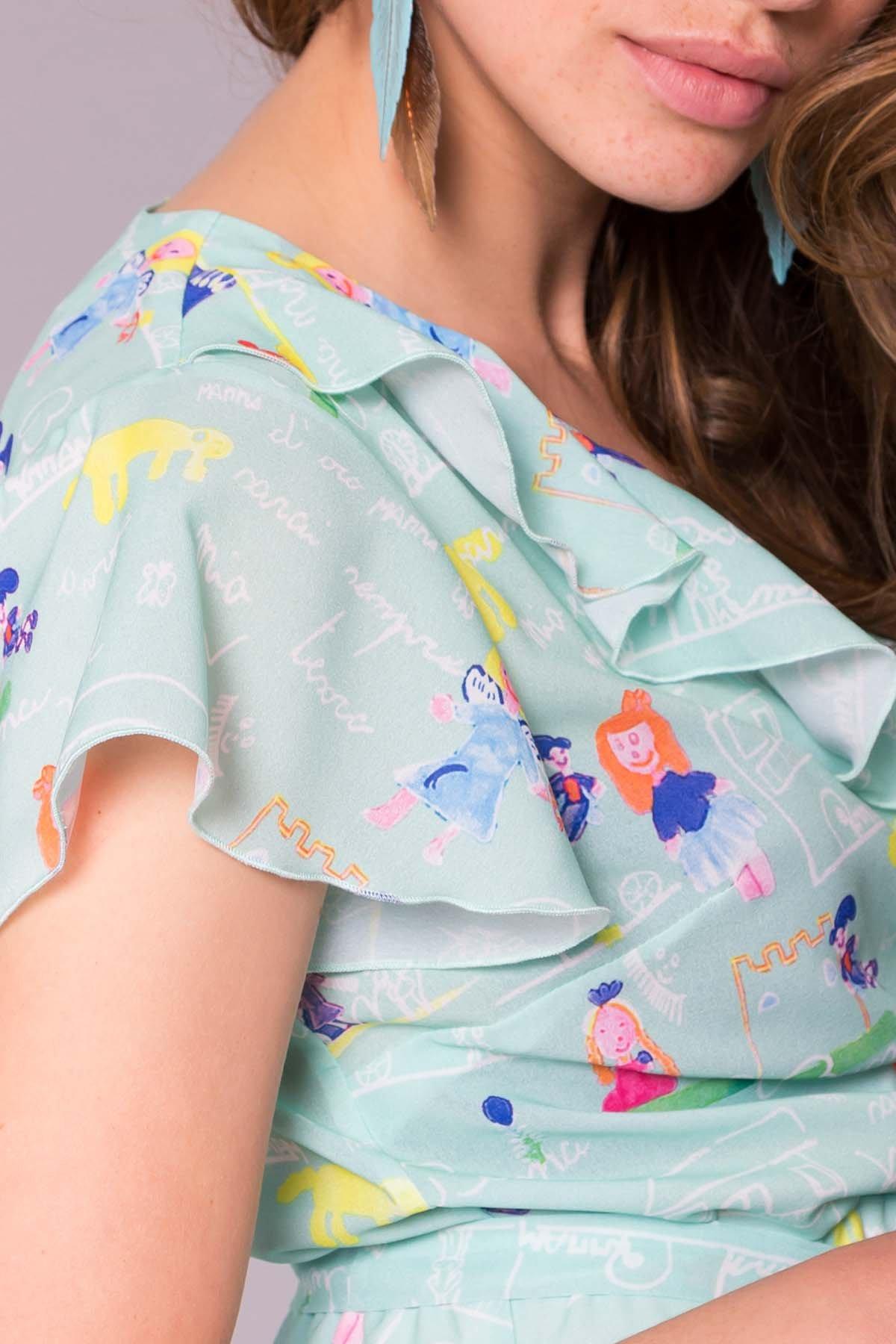Платье Лигра 7096 АРТ. 42523 Цвет: Мята Детские рисунки 14/2 - фото 5, интернет магазин tm-modus.ru