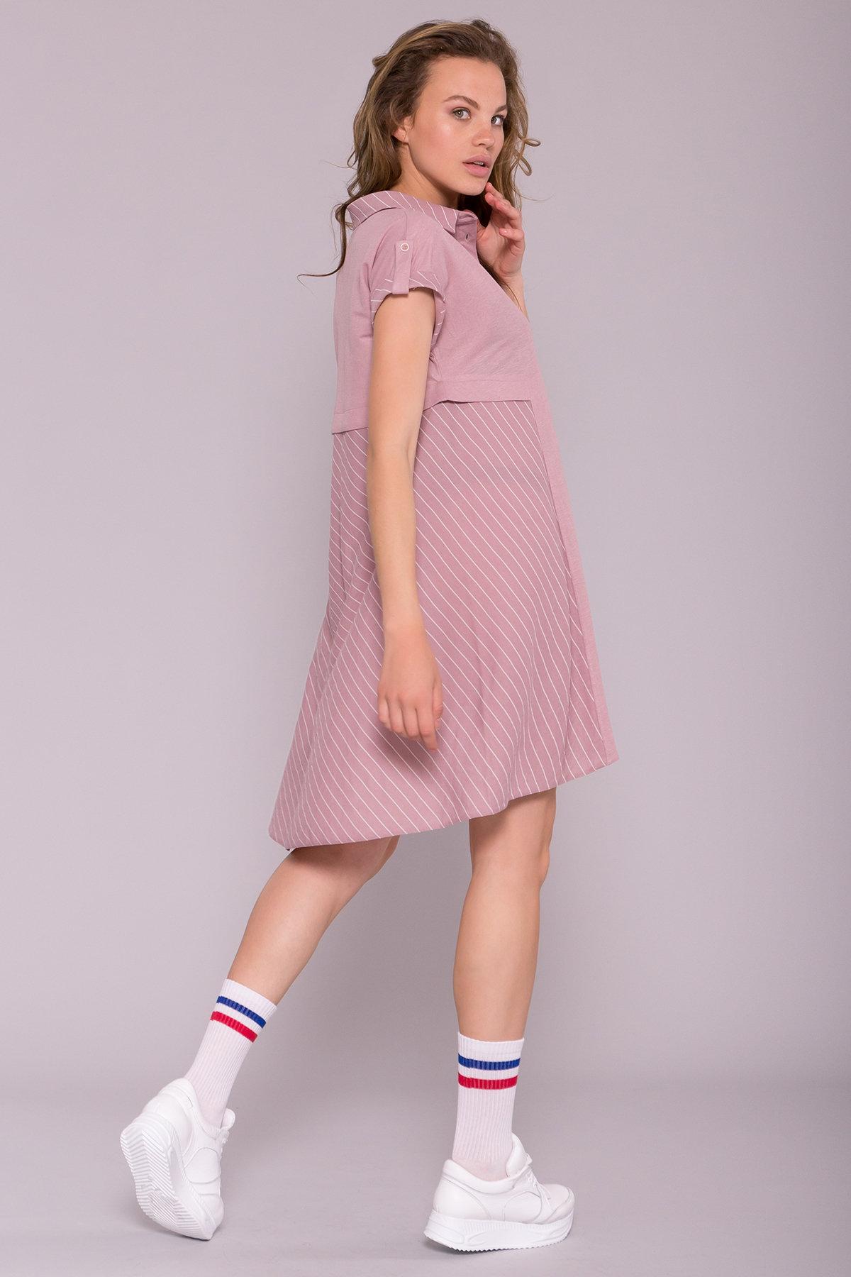 Платье Грея 7142 АРТ. 42555 Цвет: Пудра/полоска молоко - фото 2, интернет магазин tm-modus.ru