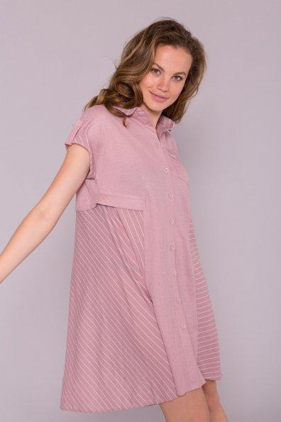 Платье Грея 7142 Цвет: Пудра/полоска молоко