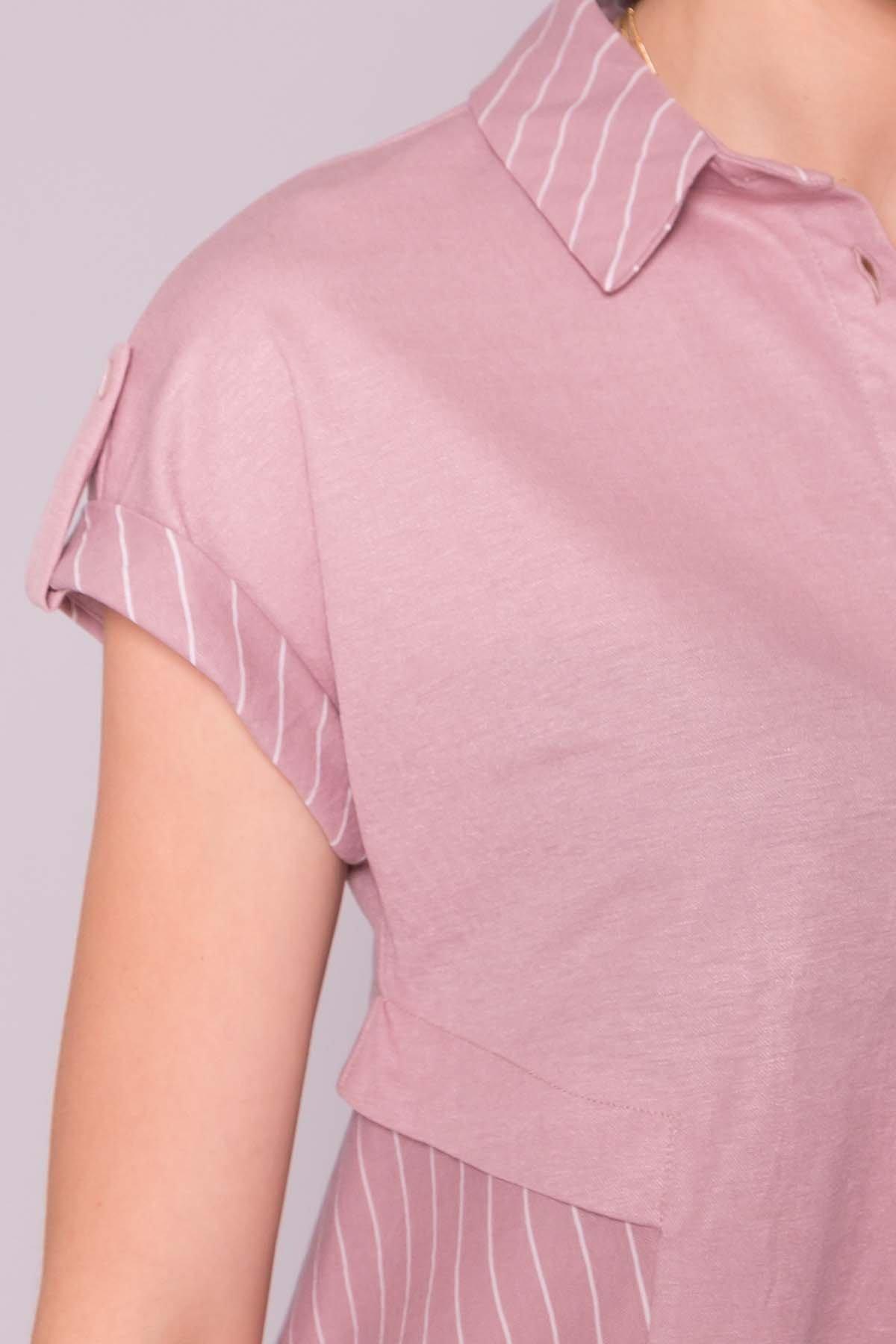 Платье Грея 7142 АРТ. 42555 Цвет: Пудра/полоска молоко - фото 4, интернет магазин tm-modus.ru