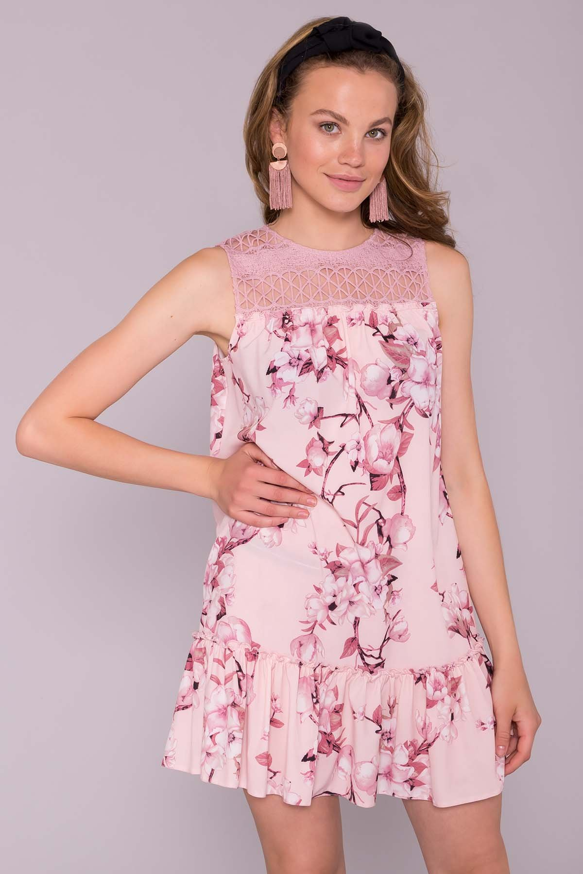 Платье Флеа 7112 АРТ. 42795 Цвет: Цветы на ветке пудра тем - фото 3, интернет магазин tm-modus.ru