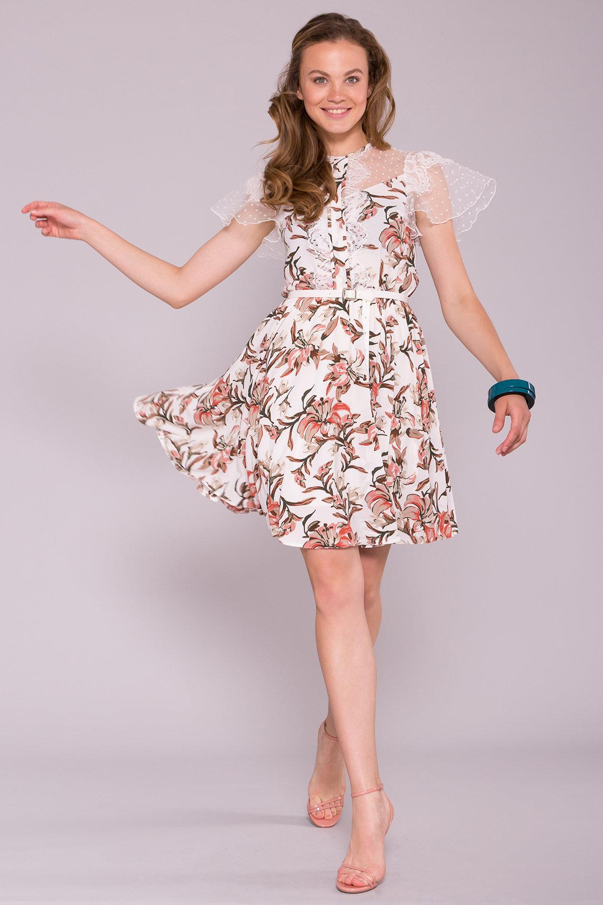 Легкое Платье Ламара 7221 АРТ. 42784 Цвет: Лилии коралл/молоко - фото 1, интернет магазин tm-modus.ru