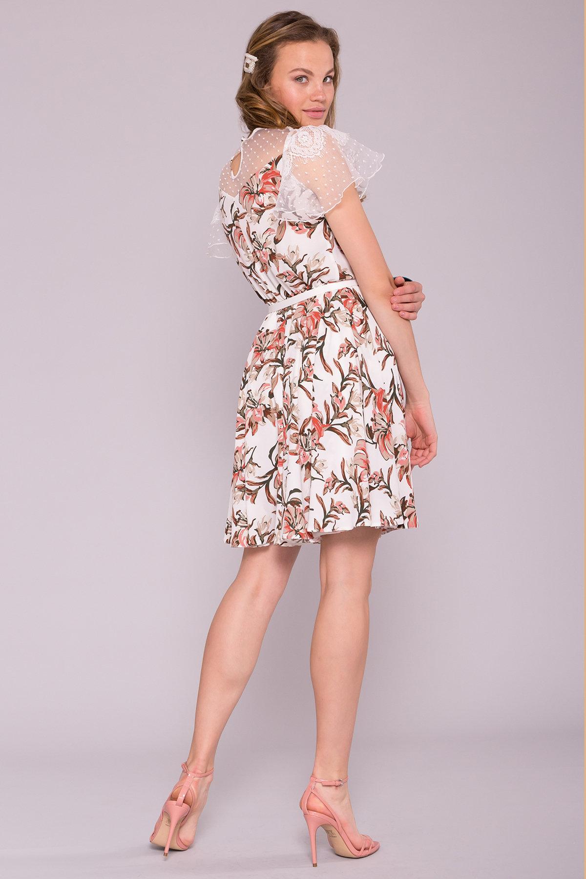 Легкое Платье Ламара 7221 АРТ. 42784 Цвет: Лилии коралл/молоко - фото 3, интернет магазин tm-modus.ru