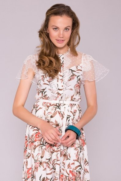 Легкое Платье Ламара 7221 Цвет: Лилии коралл/молоко