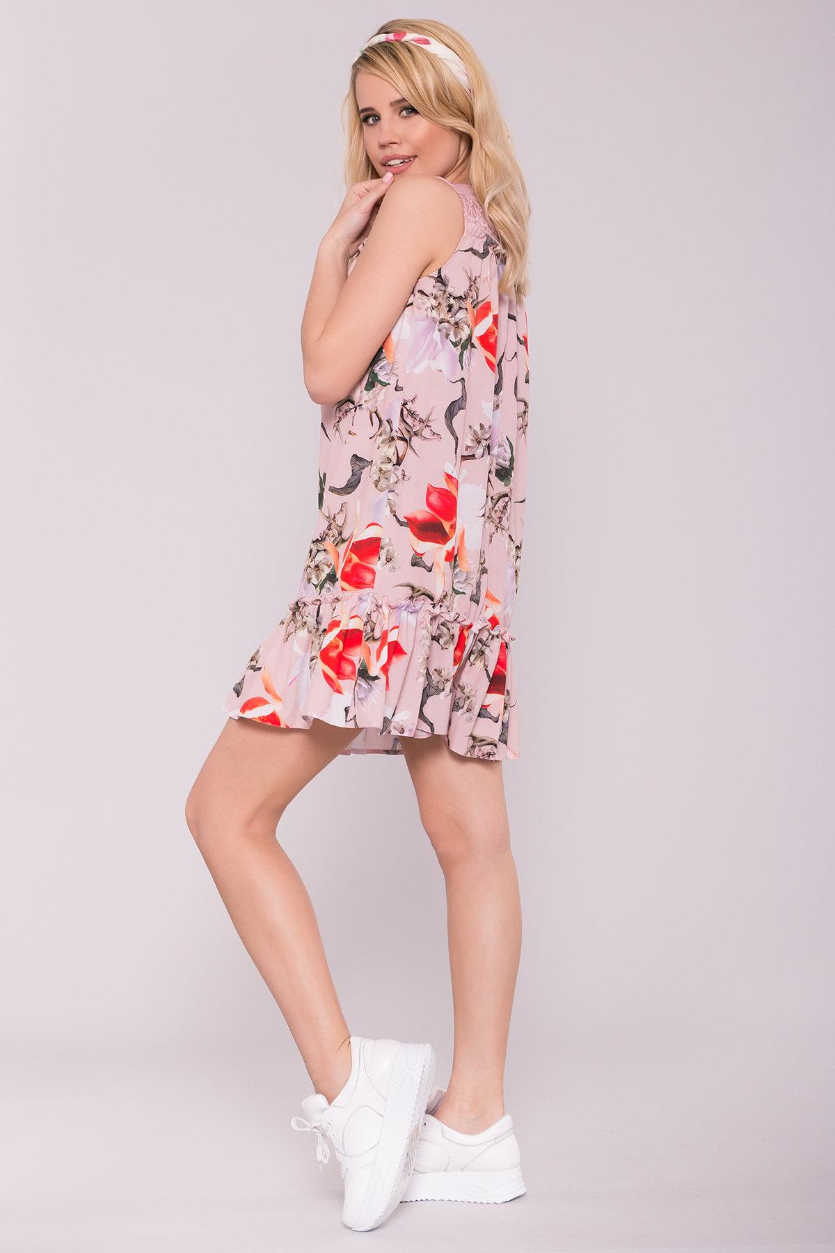 Платье Флеа 7112 АРТ. 42796 Цвет: цветы комби пудра/ коралл - фото 2, интернет магазин tm-modus.ru