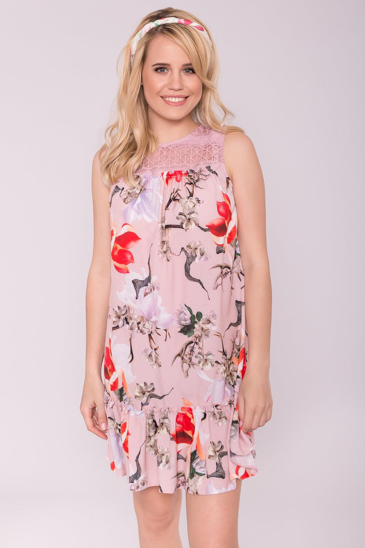 Платье Флеа 7112 АРТ. 42796 Цвет: цветы комби пудра/ коралл - фото 3, интернет магазин tm-modus.ru