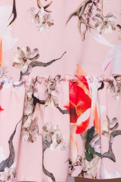 Платье Флеа 7112 Цвет: цветы комби пудра/ коралл