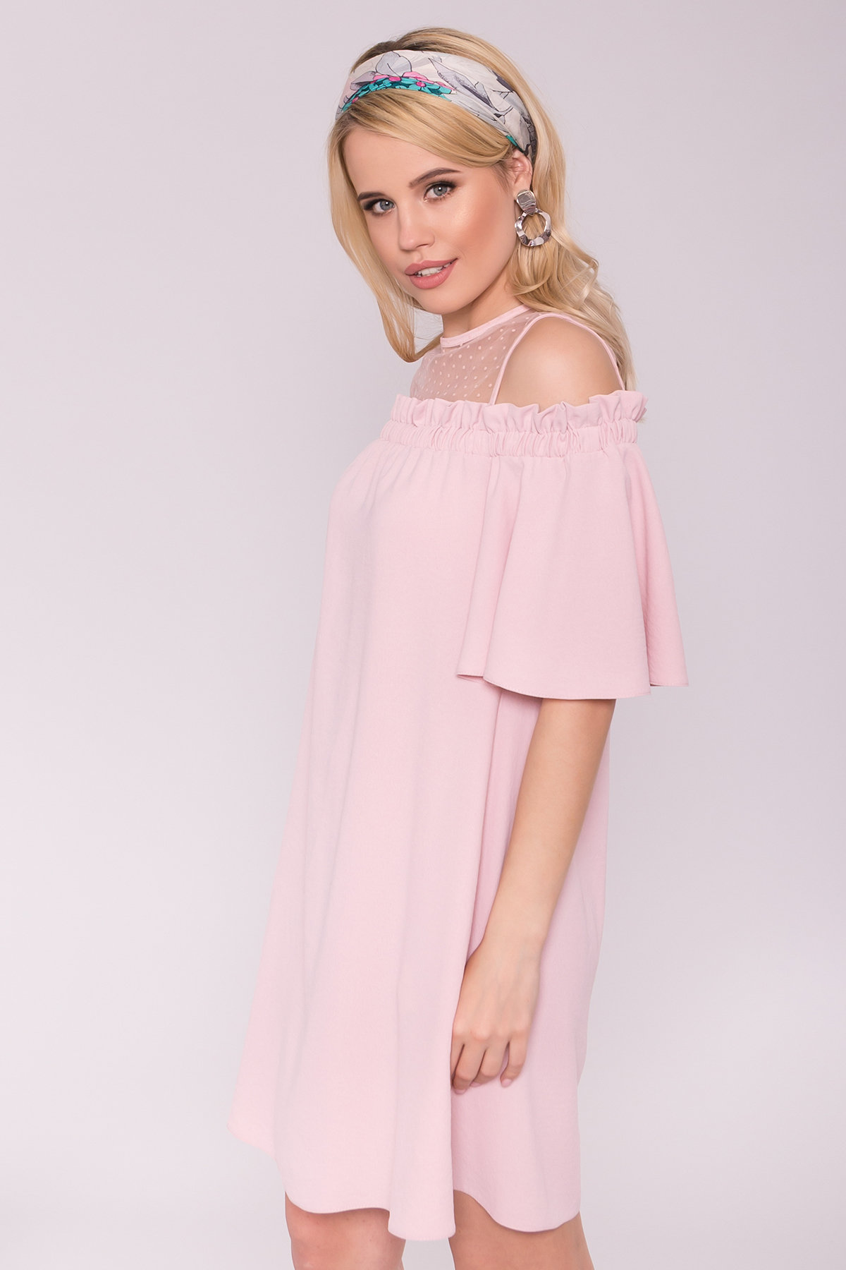Платье Молена 7138 АРТ. 42780 Цвет: Пудра 3 - фото 3, интернет магазин tm-modus.ru