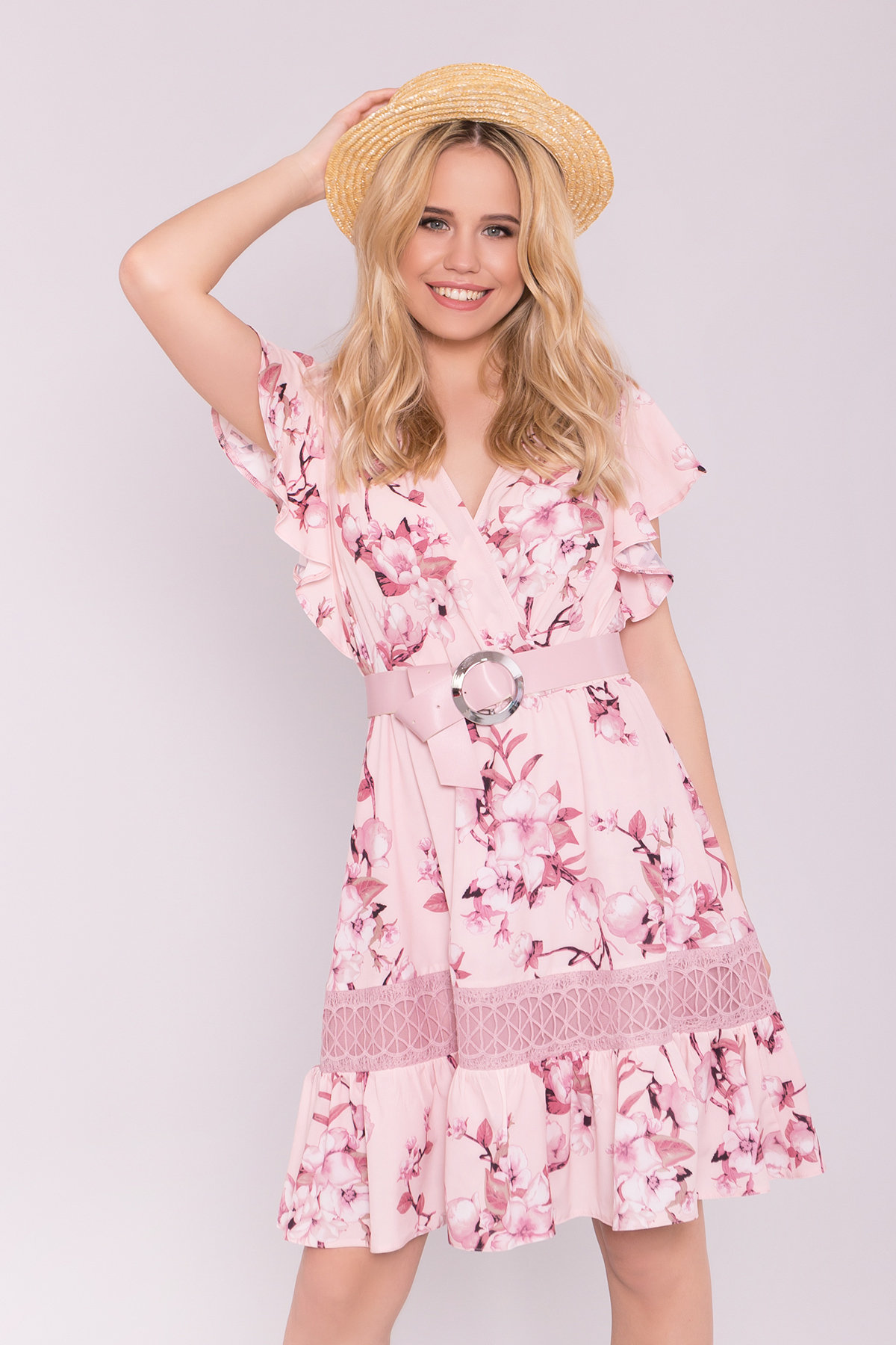 Платье Дейнерис 7217 Цвет: Цветы на ветке пудра тем