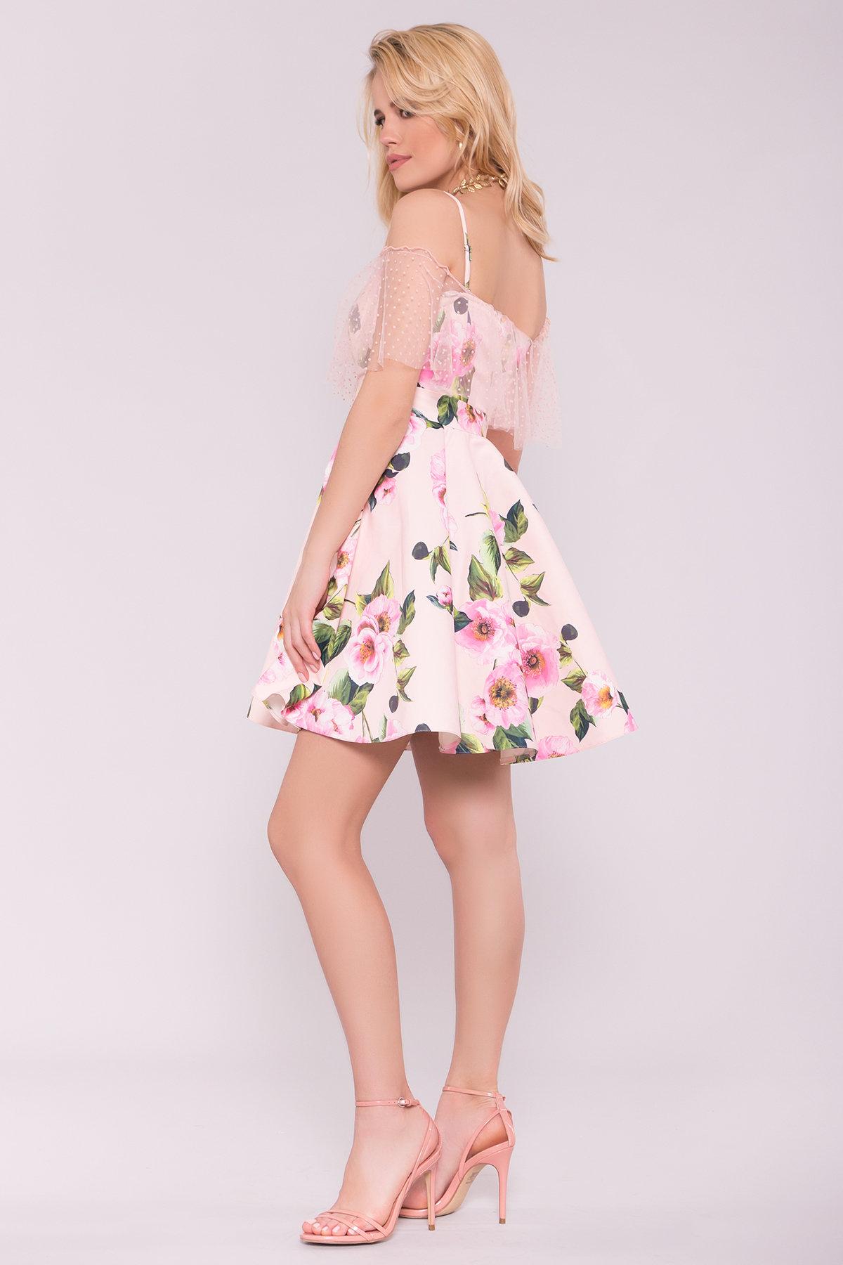 Тори платье из коттона с принтом 7189 АРТ. 42777 Цвет: Цветы пудра/розовый - фото 2, интернет магазин tm-modus.ru