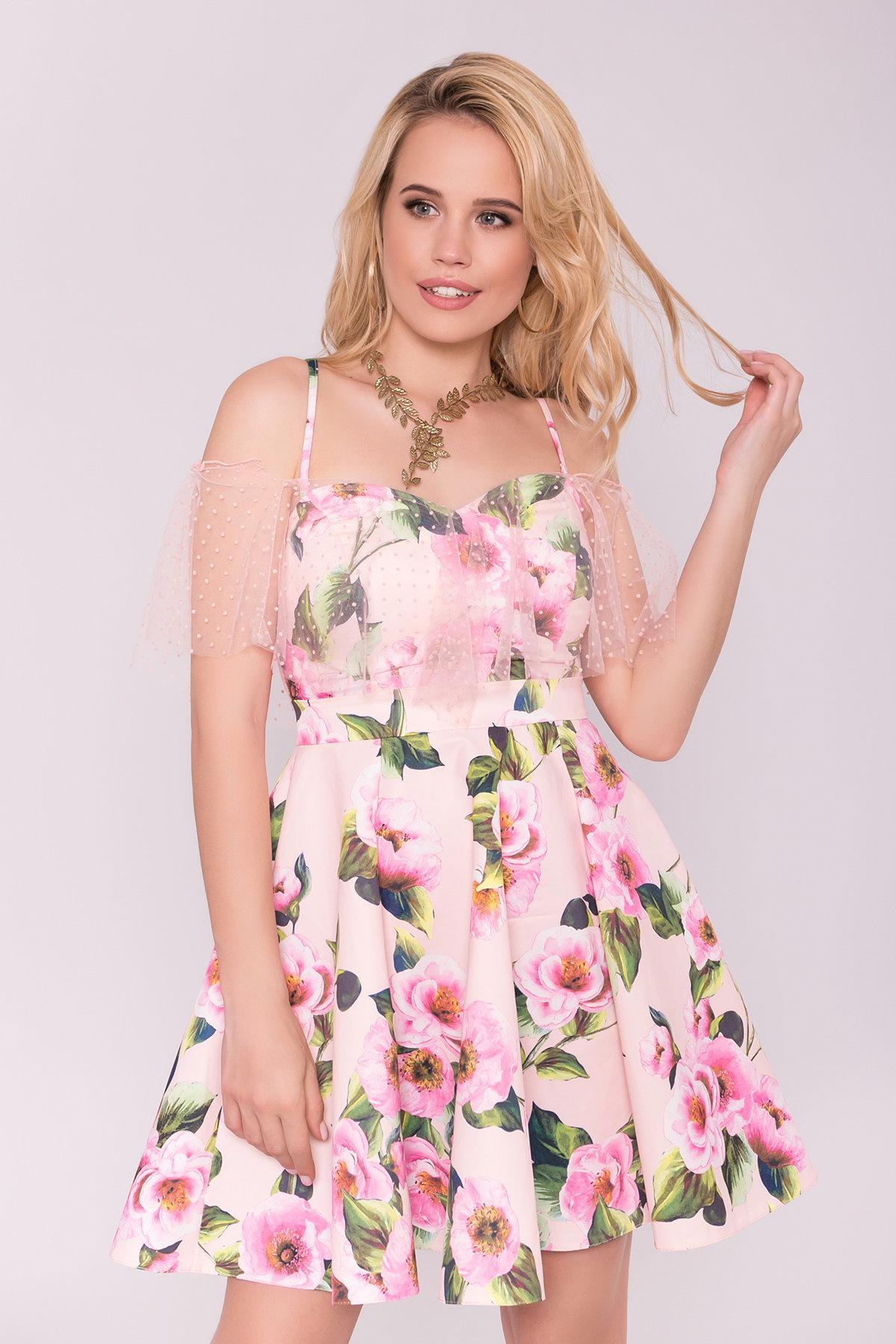 Тори платье из коттона с принтом 7189 АРТ. 42777 Цвет: Цветы пудра/розовый - фото 3, интернет магазин tm-modus.ru