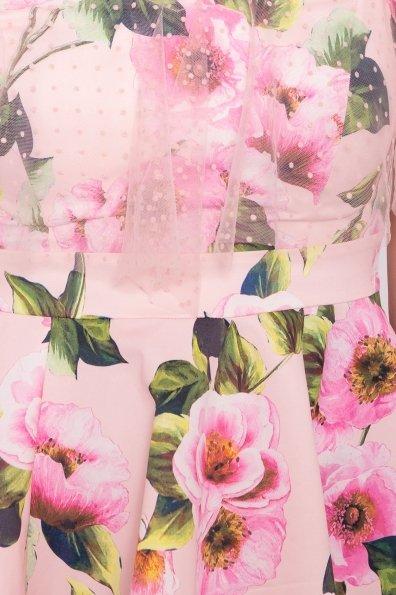 Тори платье из коттона с принтом 7189 Цвет: Цветы пудра/розовый