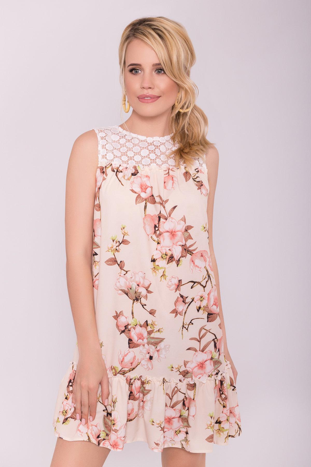 Платье Флеа 7112 Цвет: Цветы на ветке пудра св