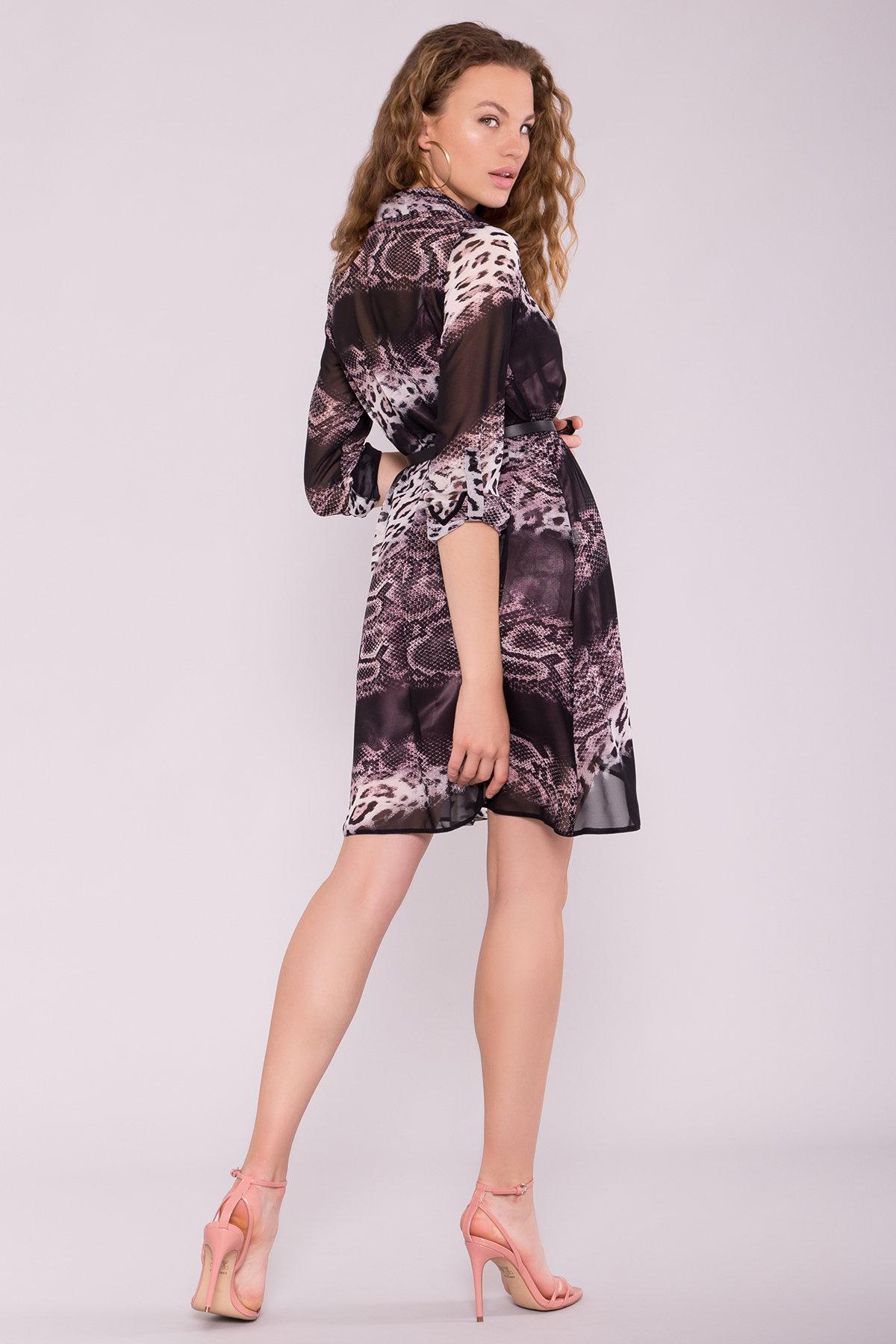 Платье-рубашка Сохо 6783 АРТ. 42514 Цвет: Леопард цветы молоко/беж - фото 2, интернет магазин tm-modus.ru
