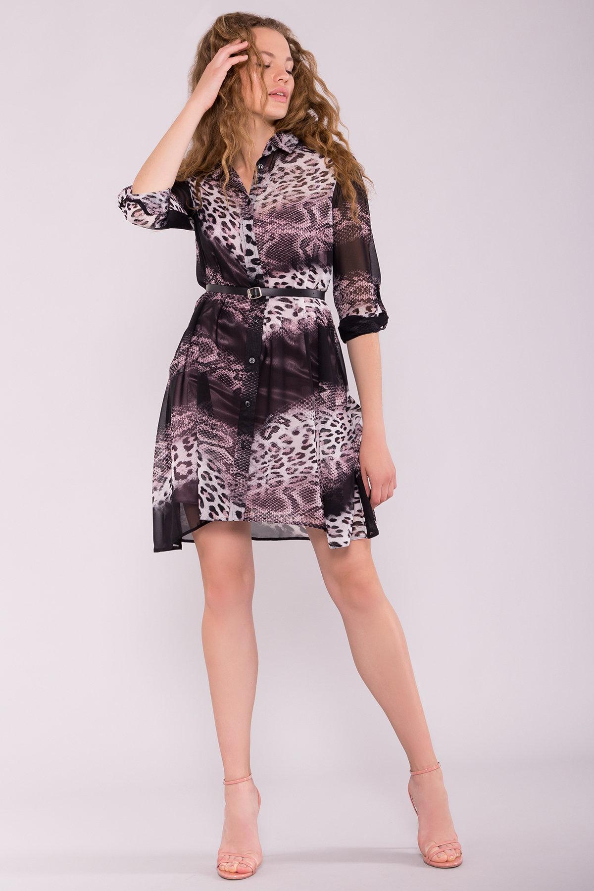 Платье-рубашка Сохо 6783 АРТ. 42514 Цвет: Леопард цветы молоко/беж - фото 3, интернет магазин tm-modus.ru