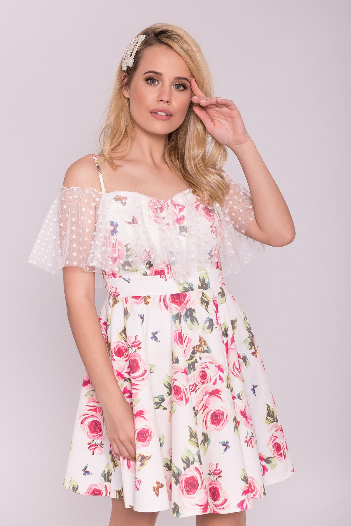Молодежное Платье Тори 7189 Цвет: Розы молоко/красный
