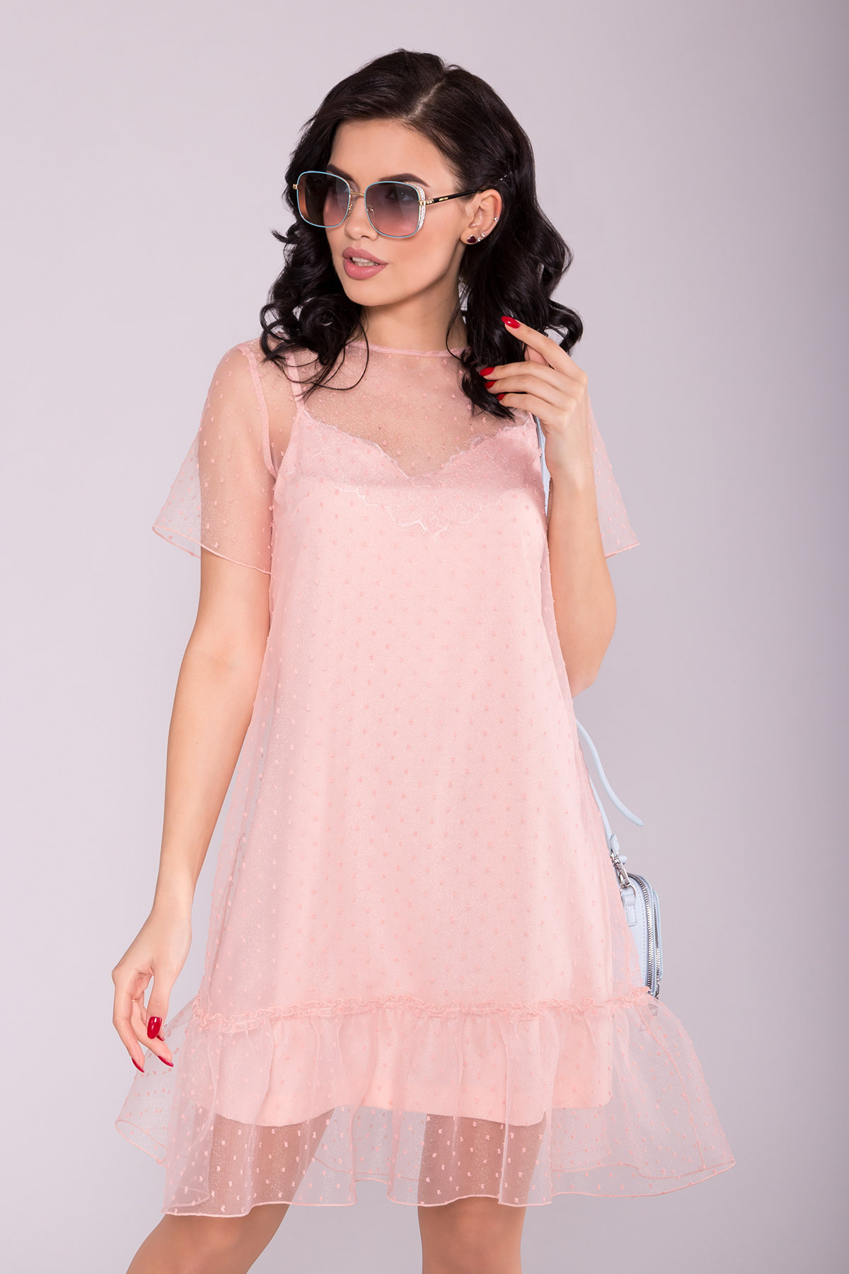 Платье Леонела 6960 АРТ. 42340 Цвет: Пудра 7 - фото 3, интернет магазин tm-modus.ru
