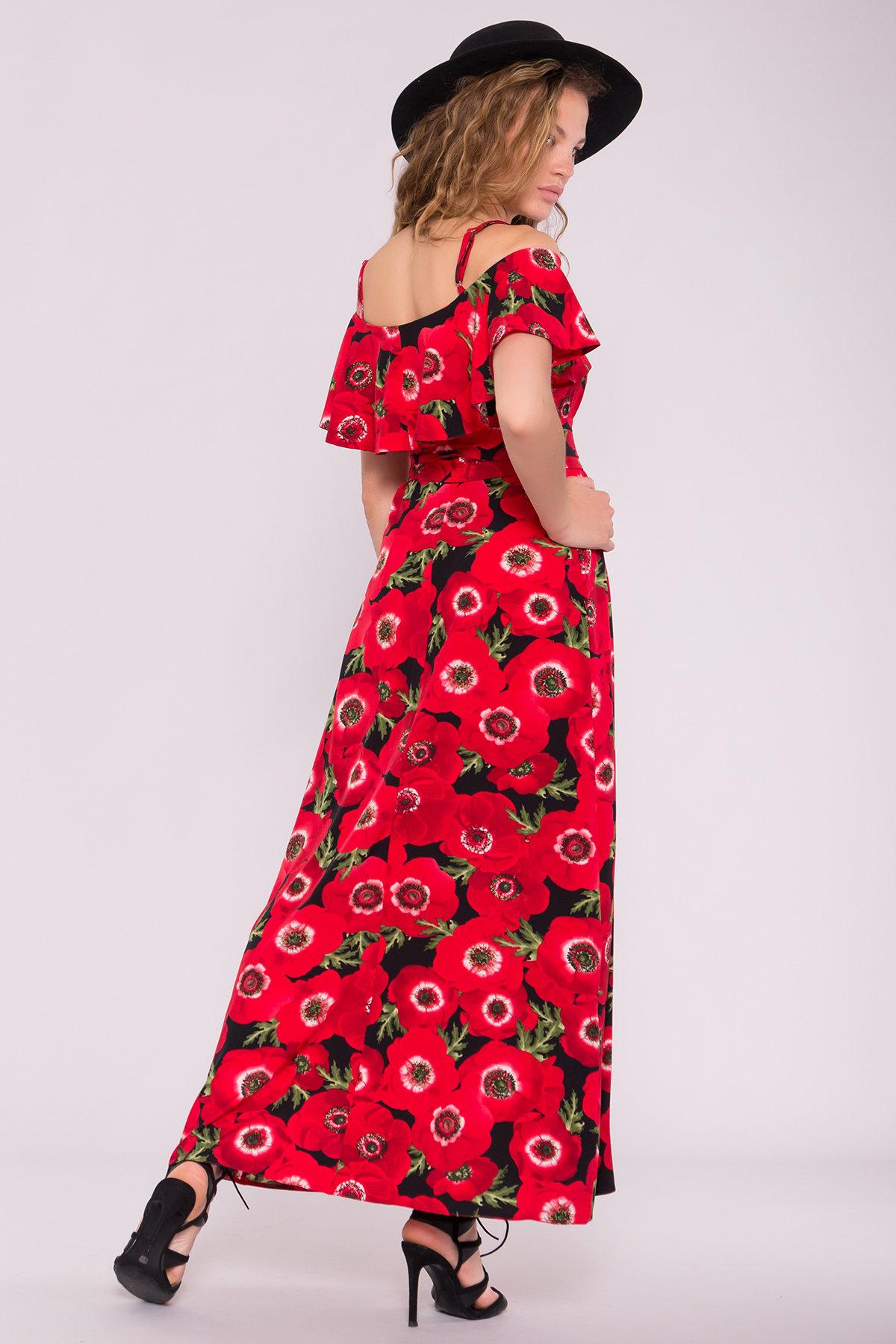 Платье Пикабу 7238 АРТ. 42803 Цвет: Маки крупные красн/черный - фото 2, интернет магазин tm-modus.ru