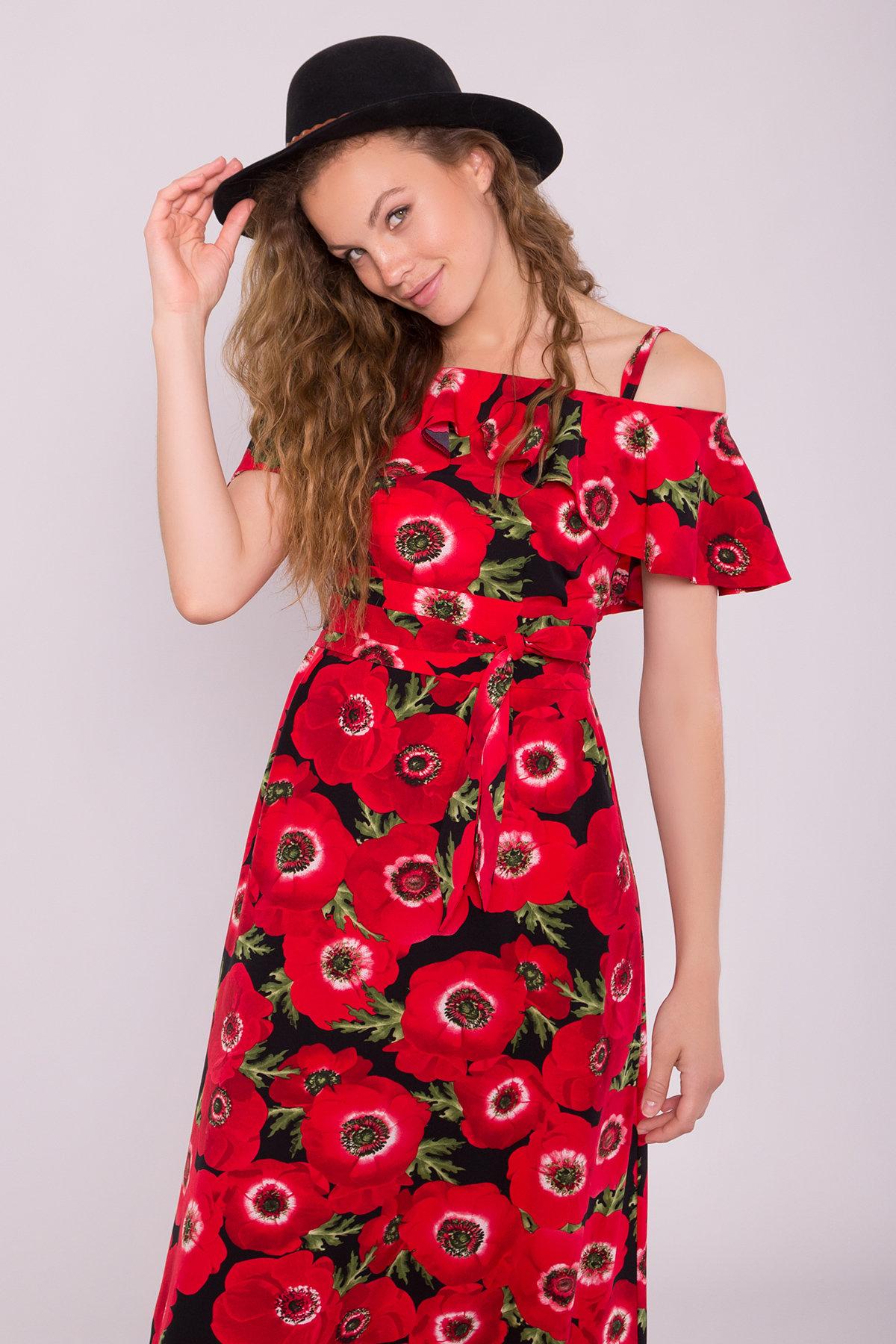 Платье Пикабу 7238 АРТ. 42803 Цвет: Маки крупные красн/черный - фото 3, интернет магазин tm-modus.ru