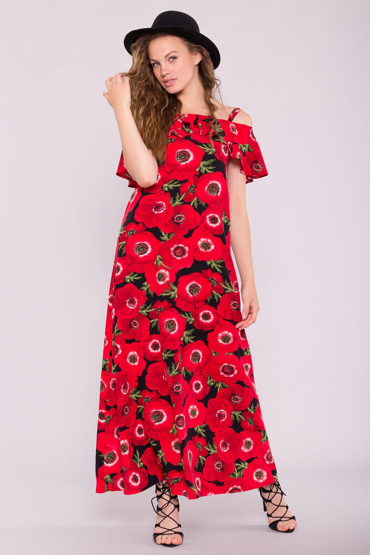 Платье Пикабу 7238 АРТ. 42803 Цвет: Маки крупные красн/черный - фото 4, интернет магазин tm-modus.ru
