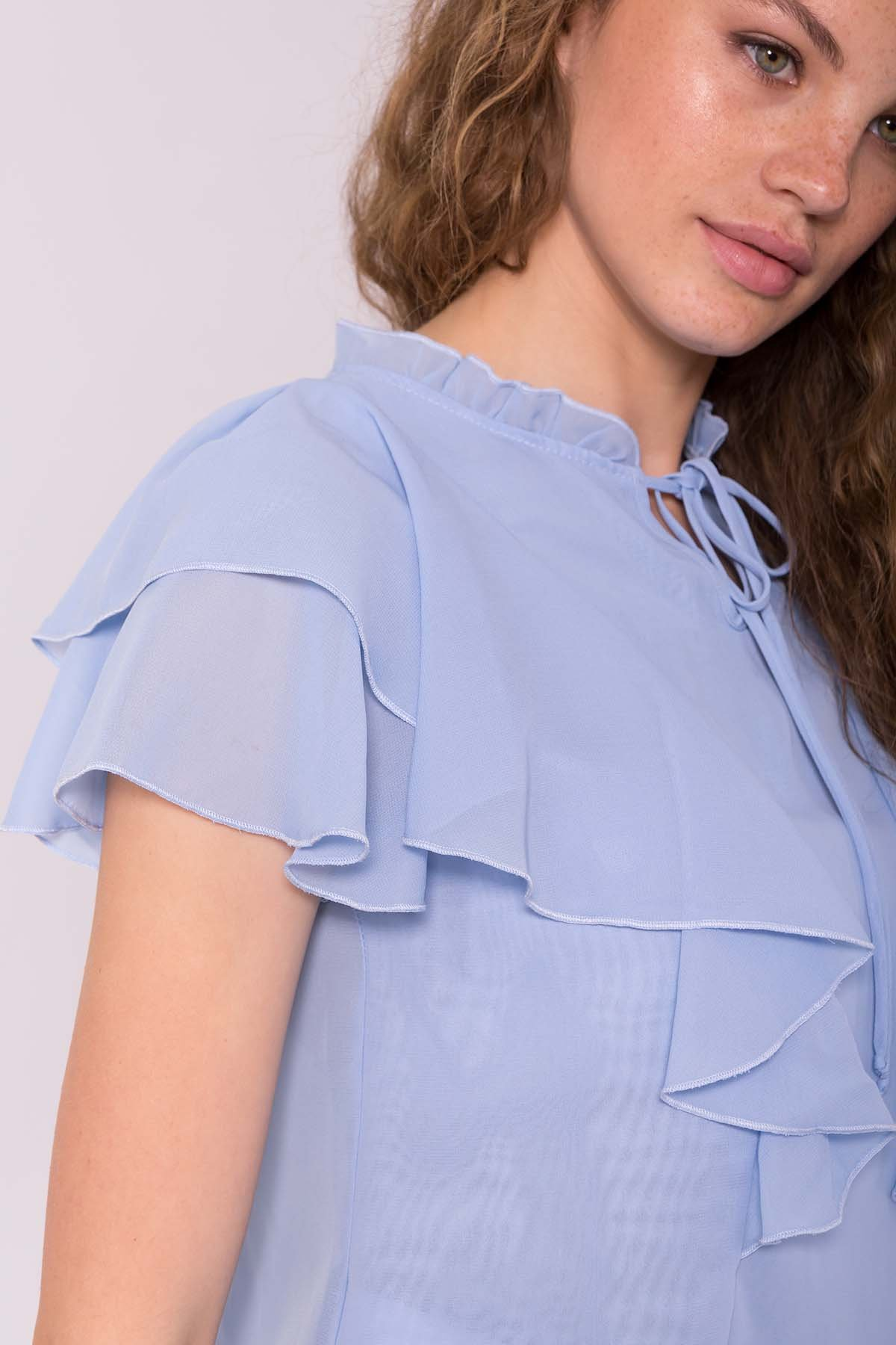 Блуза Дайан 7235 АРТ. 42833 Цвет: Голубой - фото 3, интернет магазин tm-modus.ru