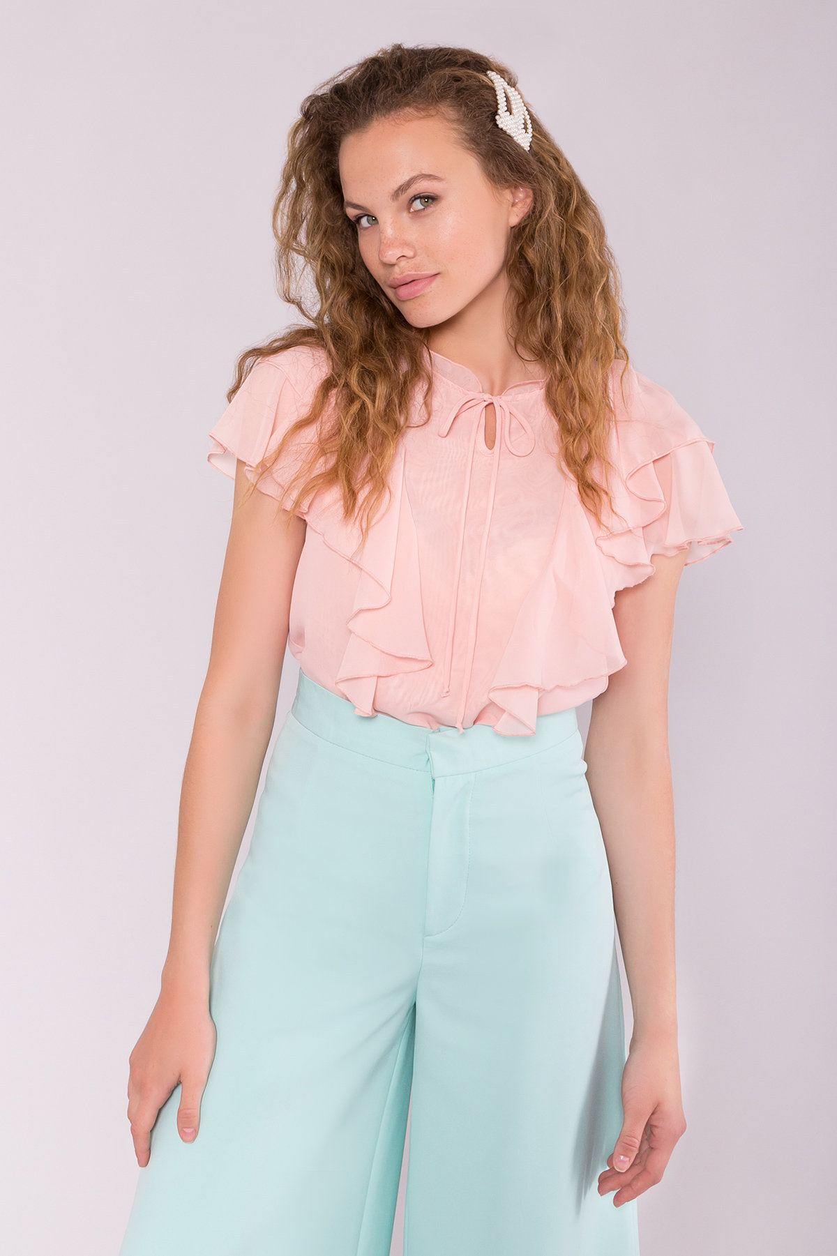 Блуза Дайан 7235 АРТ. 42831 Цвет: Пудра 5 - фото 3, интернет магазин tm-modus.ru